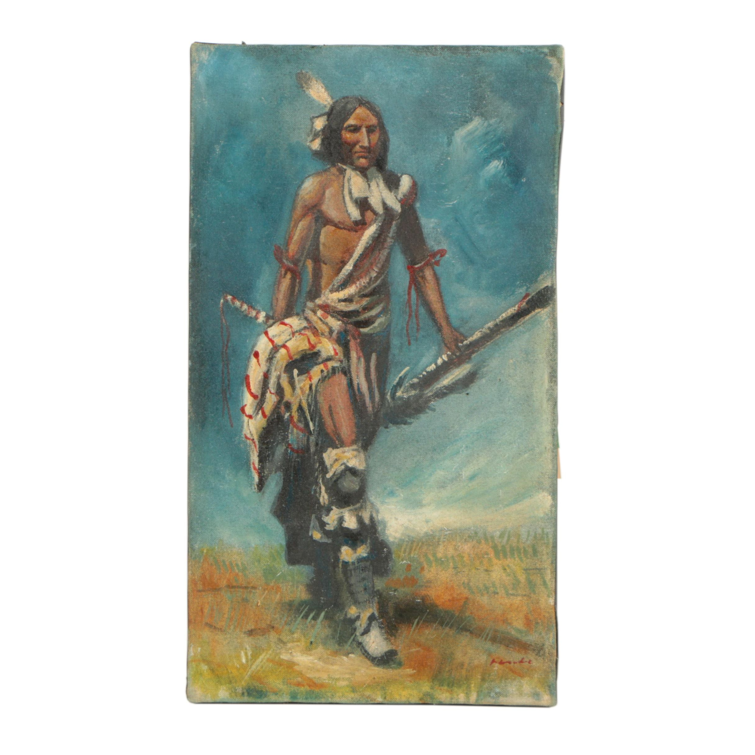 Oil Painting of a Figure in Native American Attire