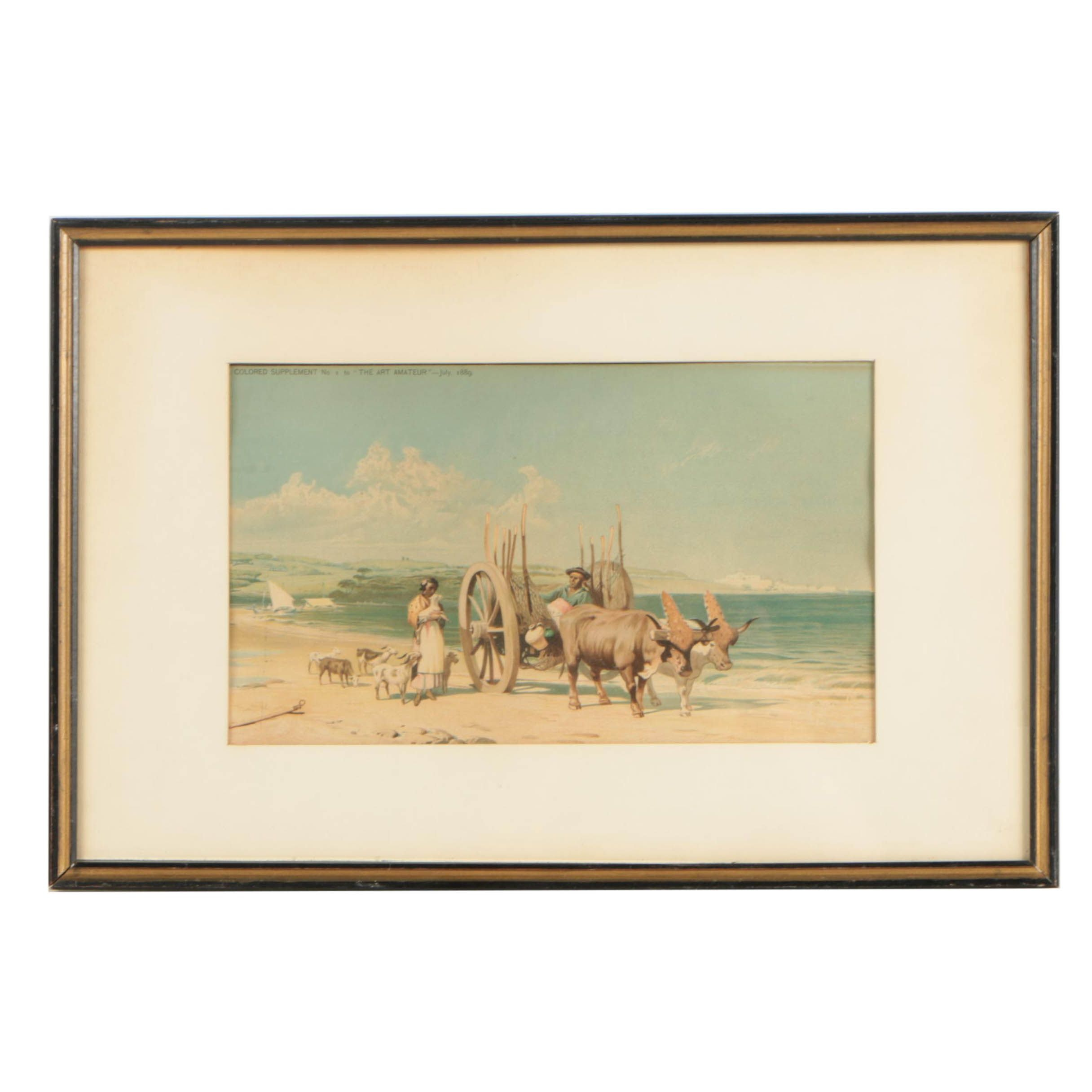 """1889 Chromolithograph Supplemental Print from """"The Art Amateur"""" Magazine"""