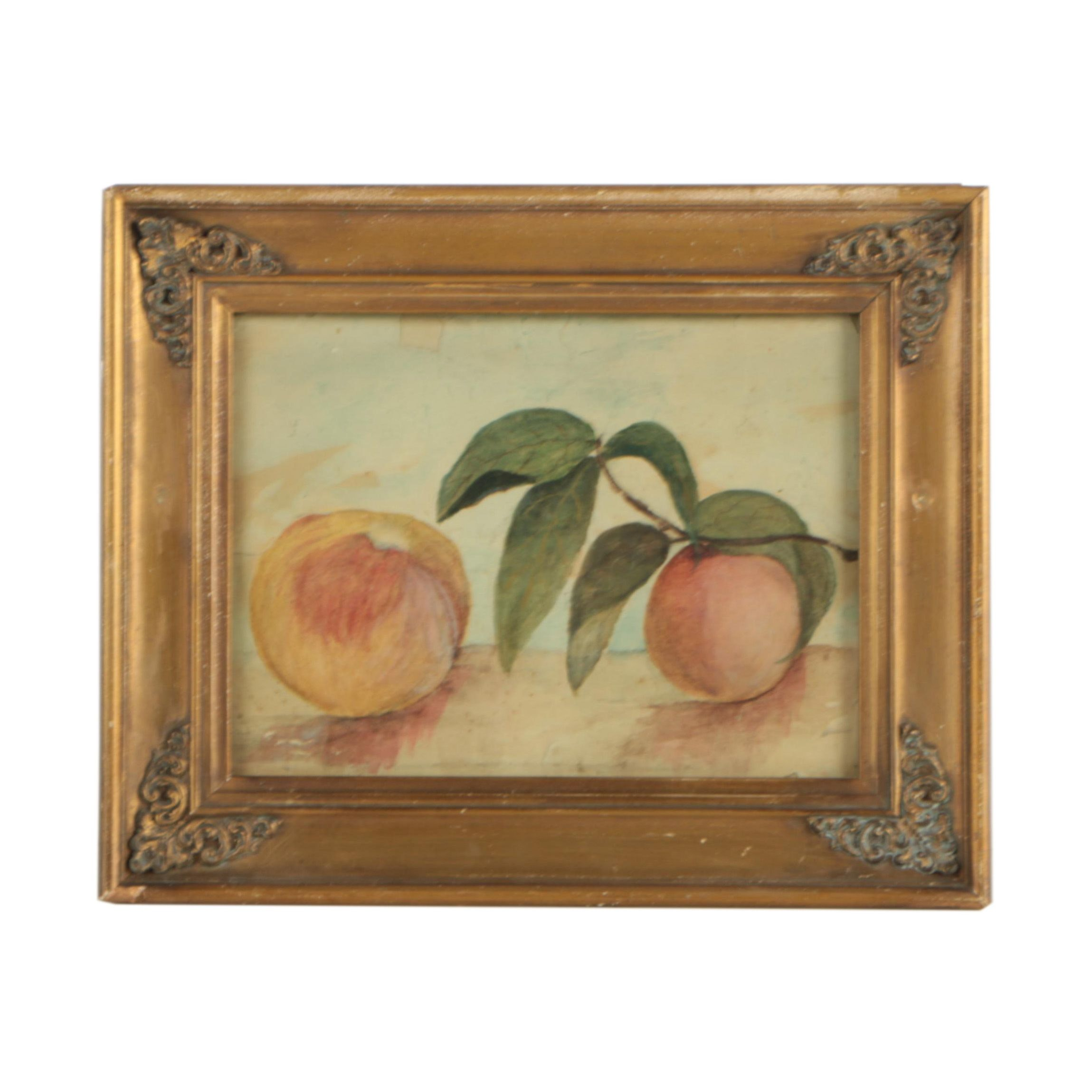 Watercolor Painting Still Life of Peaches