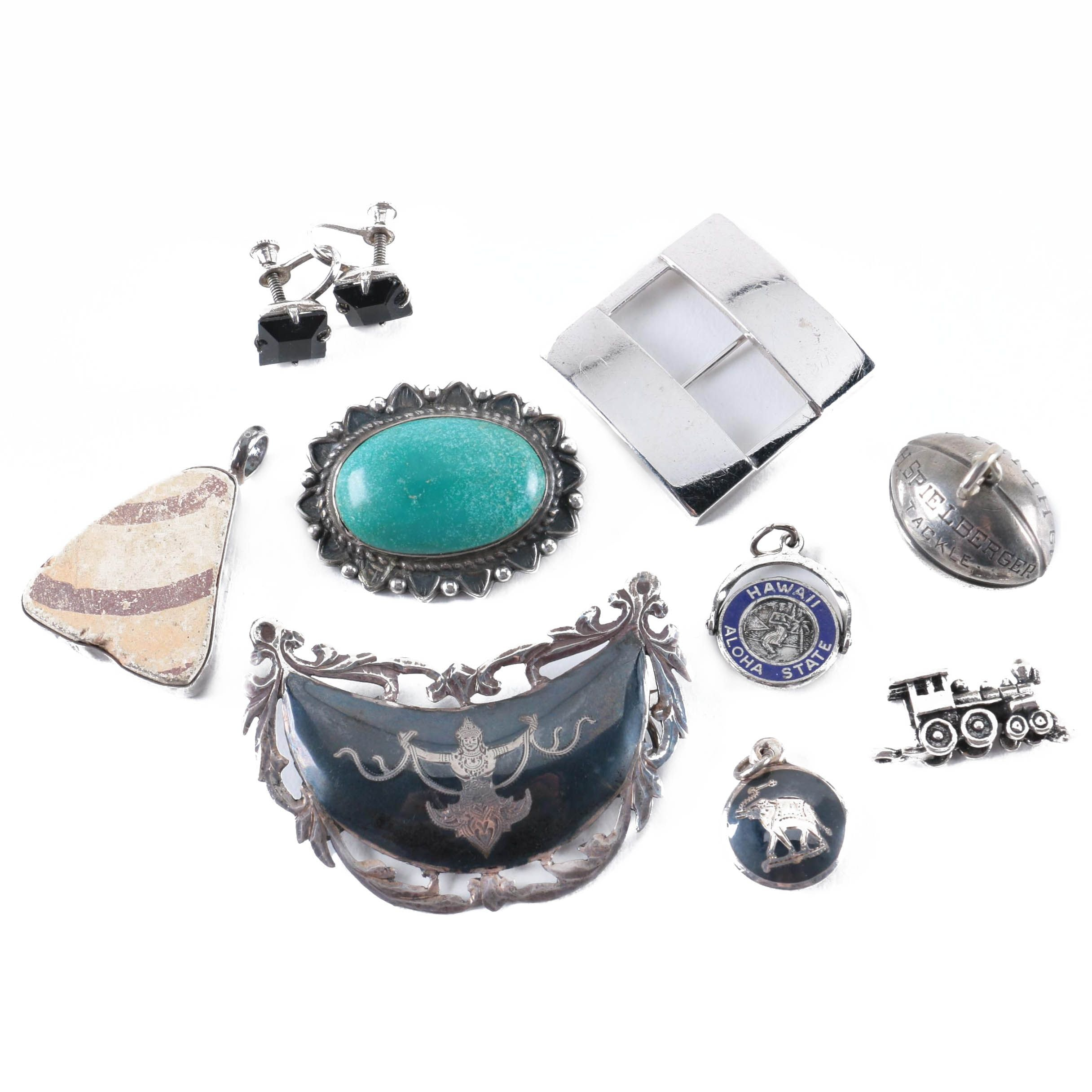 Sterling Silver Turquoise Brooch, Pottery Shard Pendant and Thai Nakon Jewelry