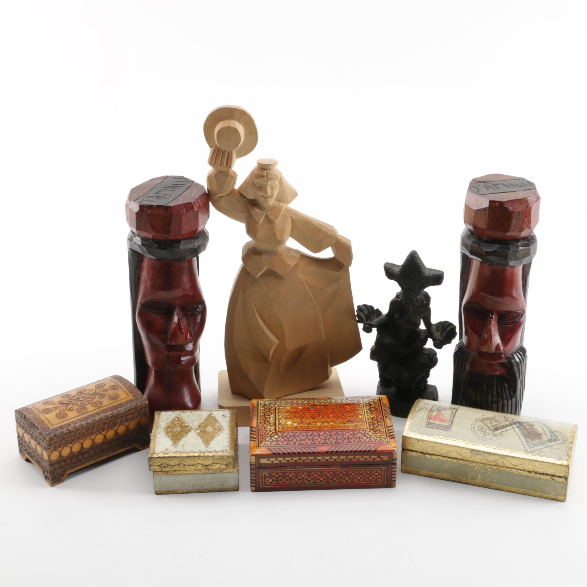 Wood Carved Folk Art Figurines and Trinket Boxes