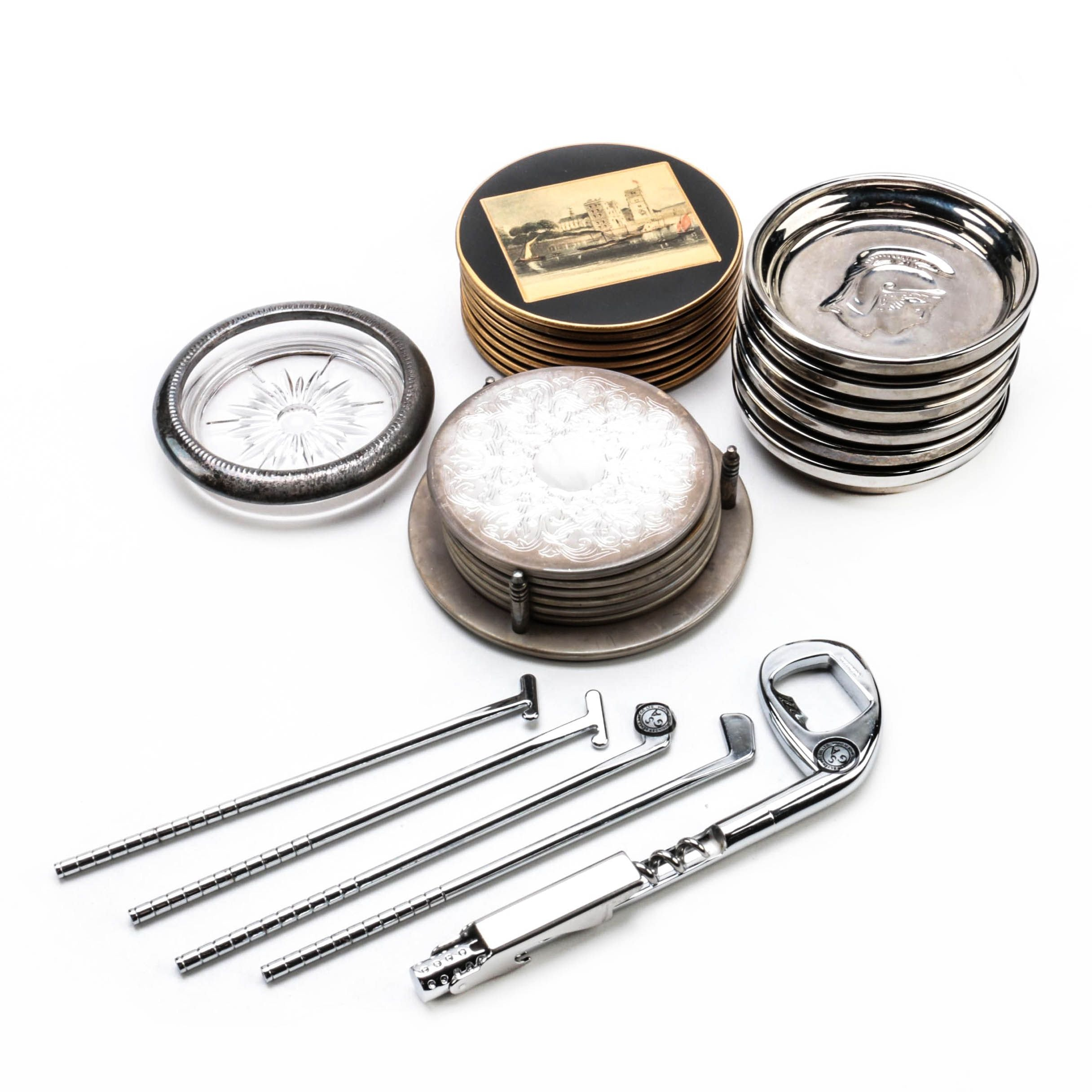 Godinger Stainless Steel Bar Tools with Silver Plate Coasters