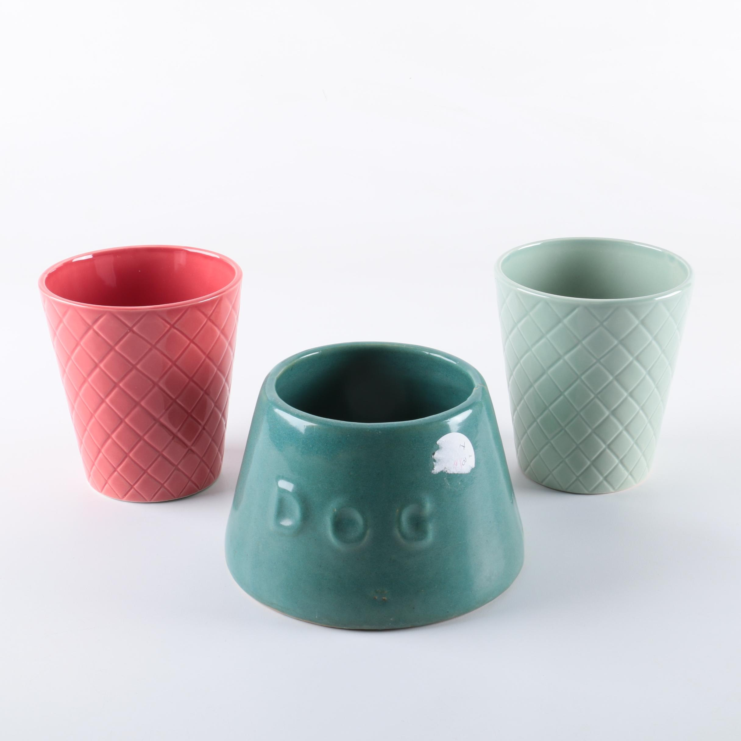 Ceramic Planters and Dog Bowl