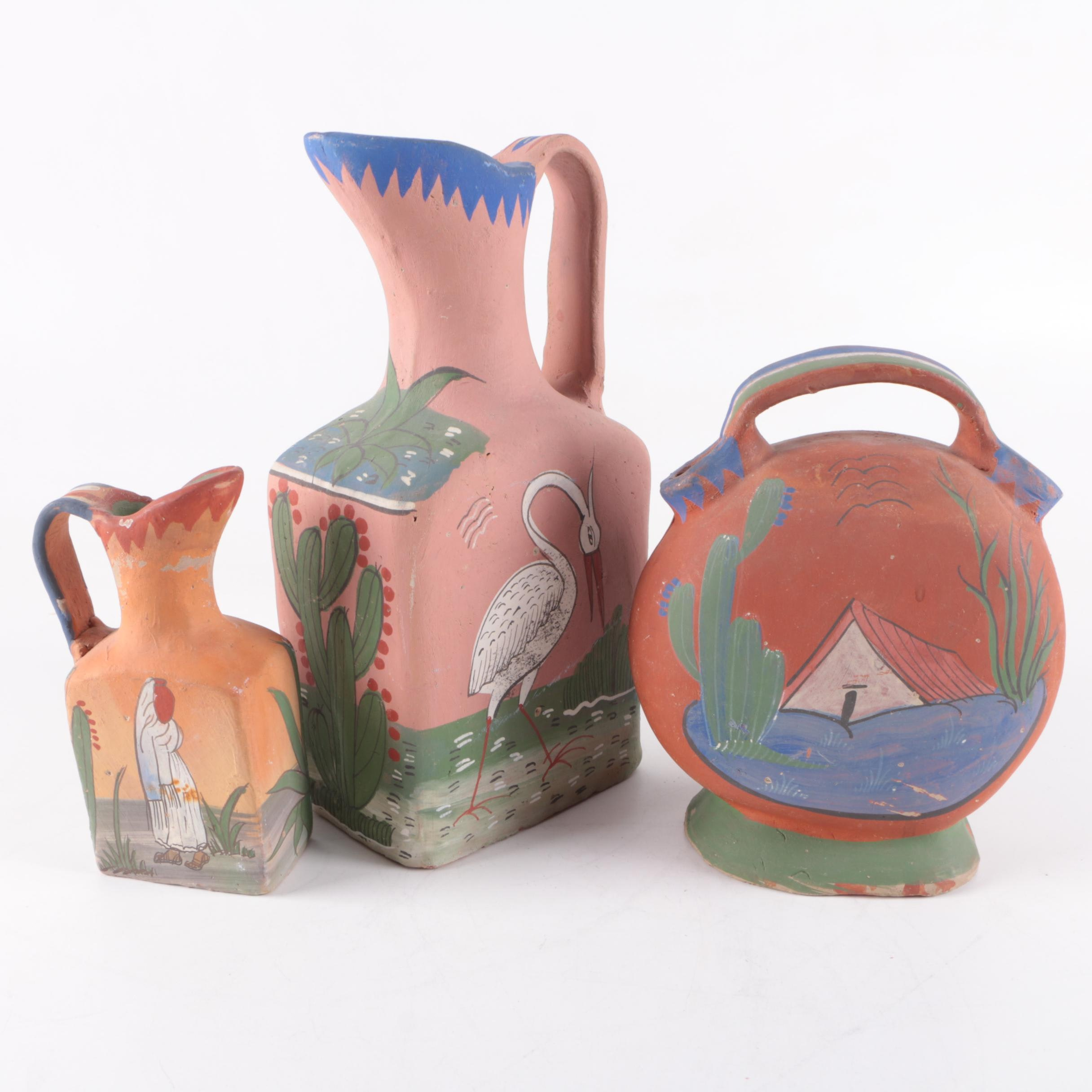 Mexican Hand Painted Redware Pitchers