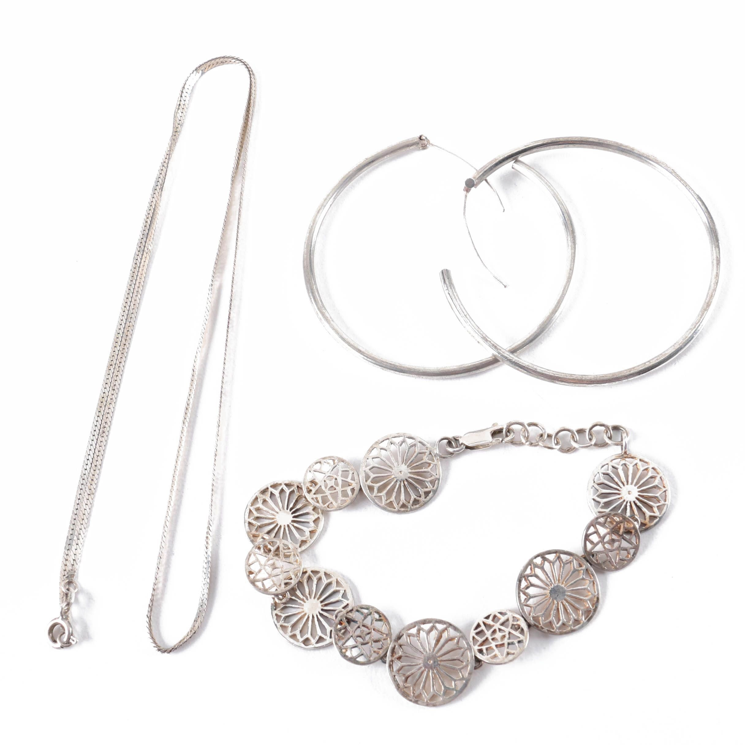 Sterling Silver Bracelet, Necklace and Earrings