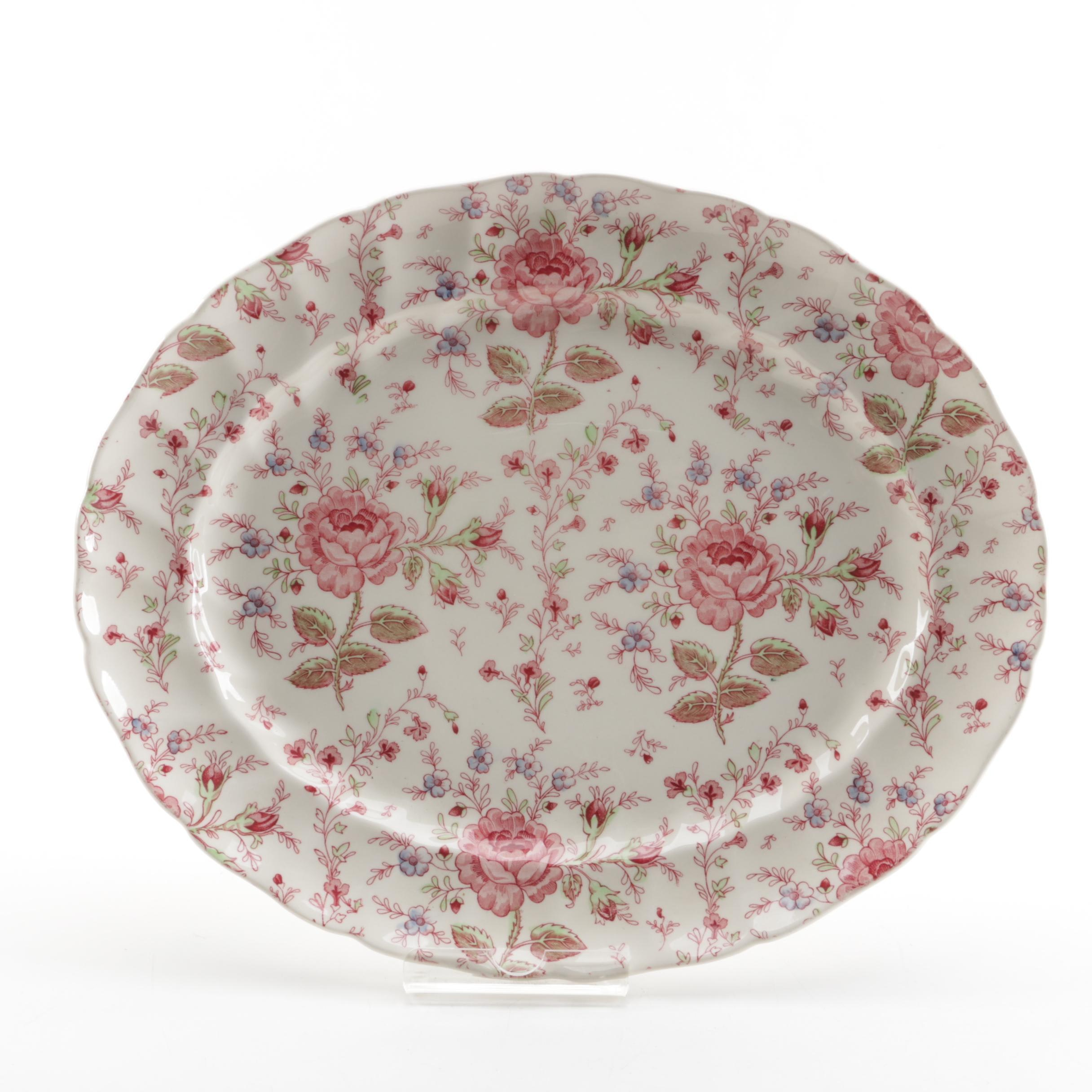 "Johnson Brothers ""Rose Chintz"" Oval Platter"