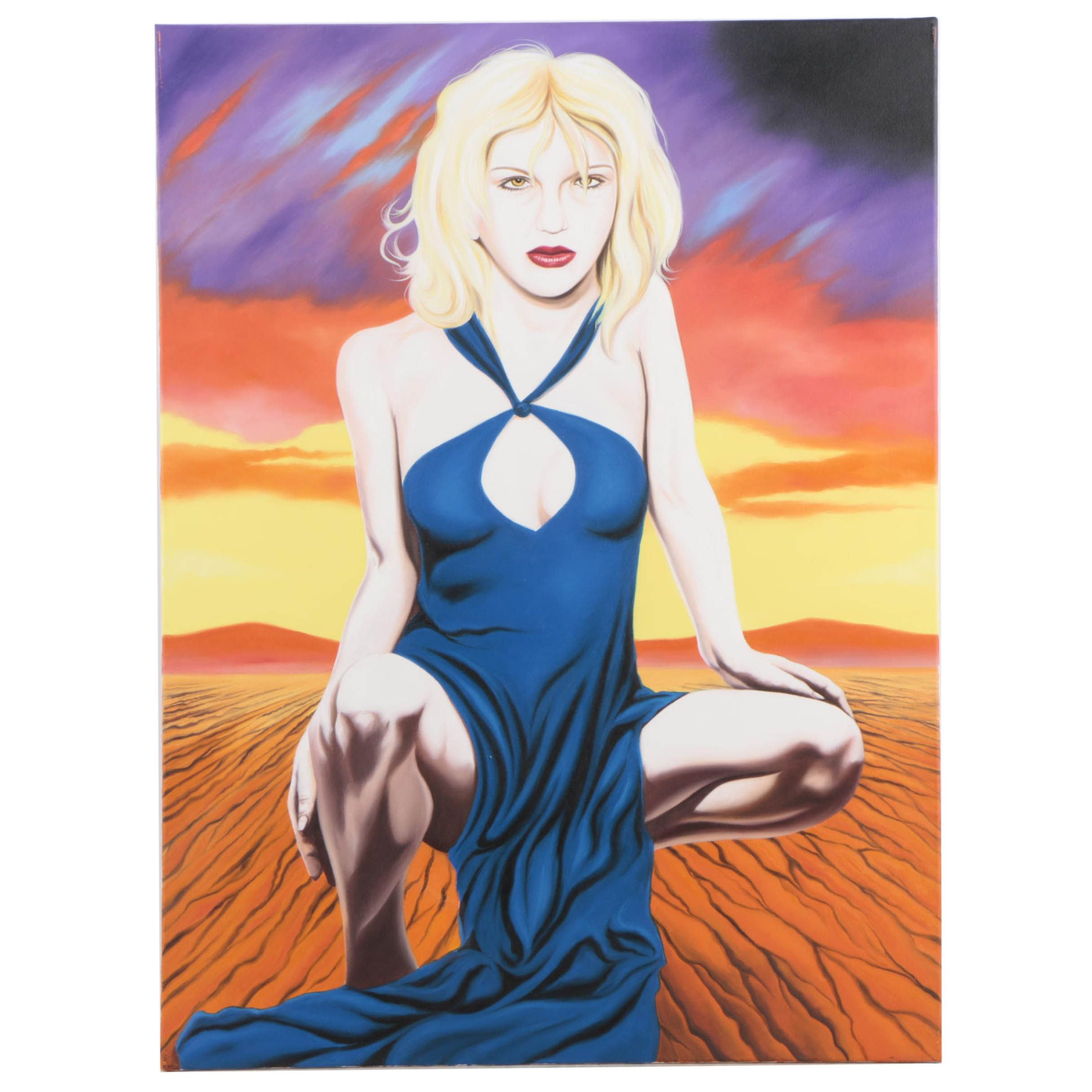 """Hector Monroy Oil Painting """"Courtney Love"""""""