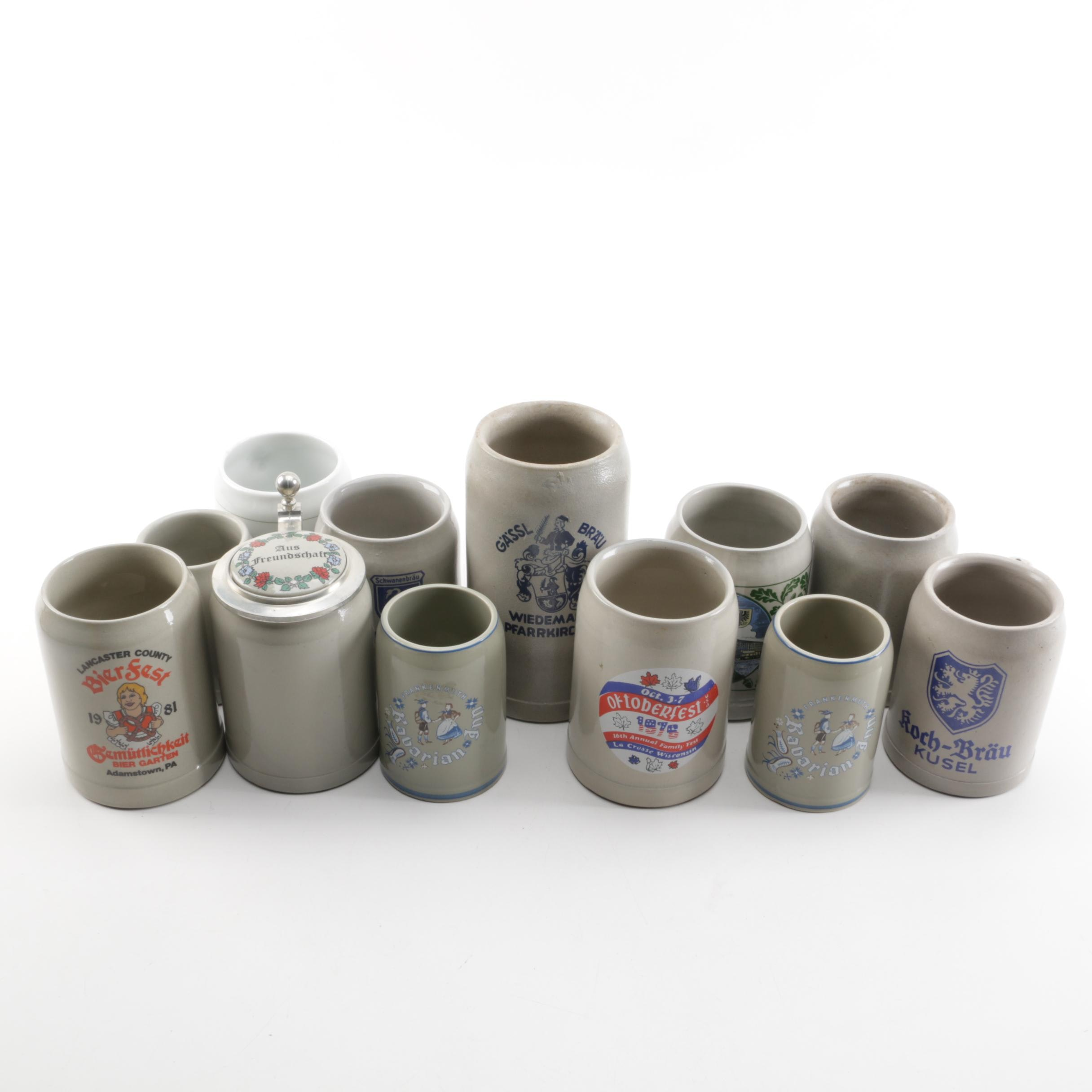 Stoneware Beer Stein and Mugs