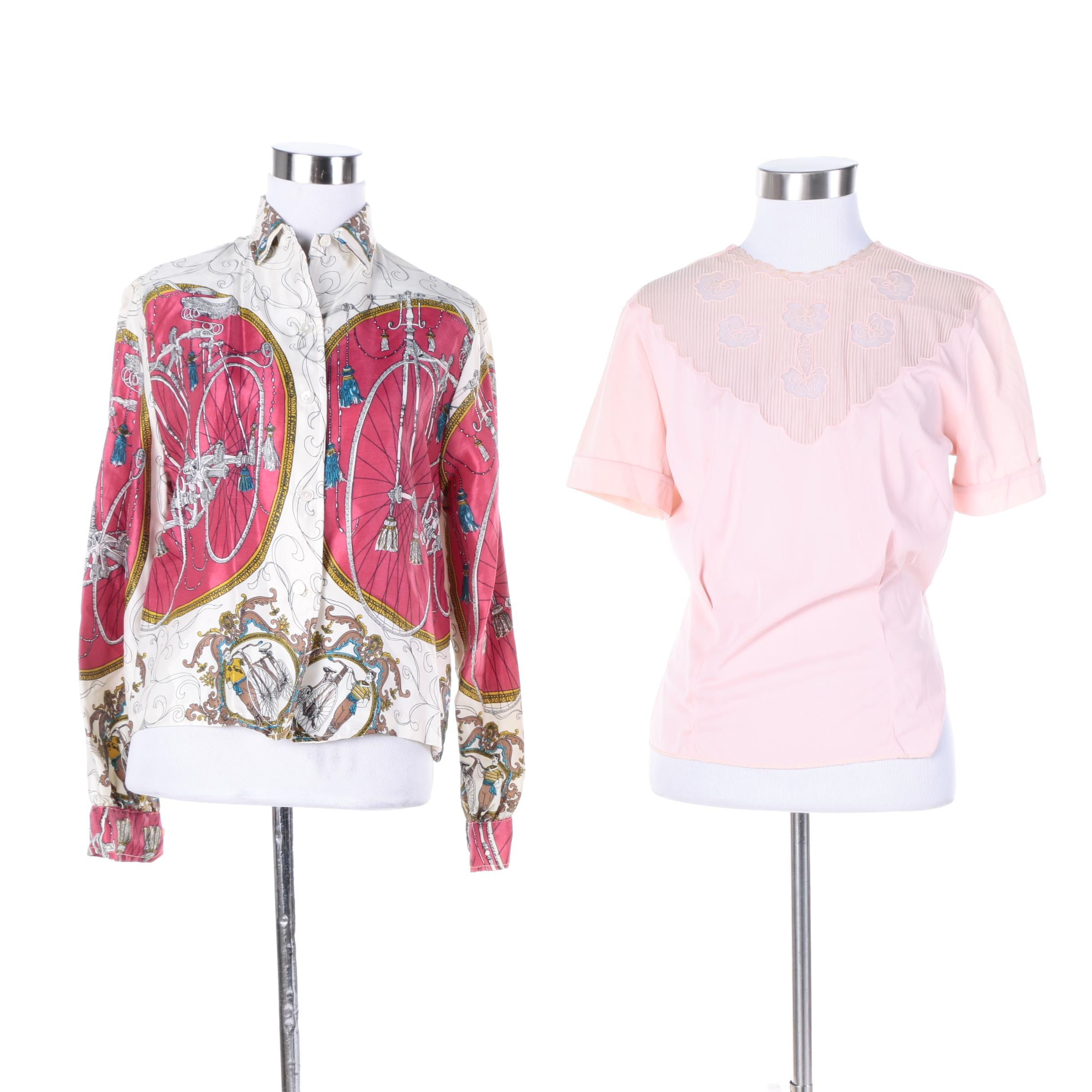 Women's Vintage Phil Rose Button-Front Shirt and Pink Short Sleeve Blouse