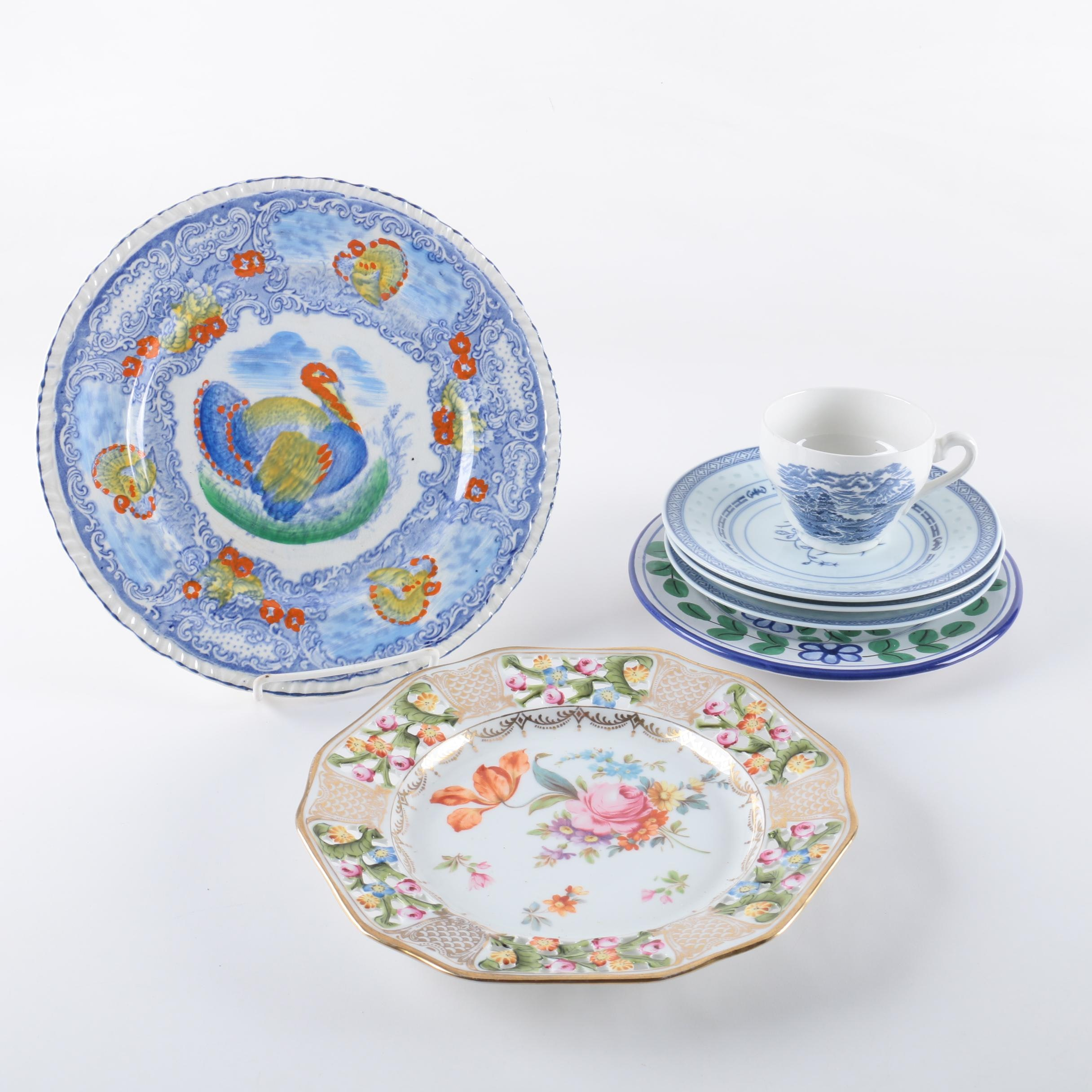 "Tableware Including Chinese ""Grain of Rice"" and Hand-Painted Faience"