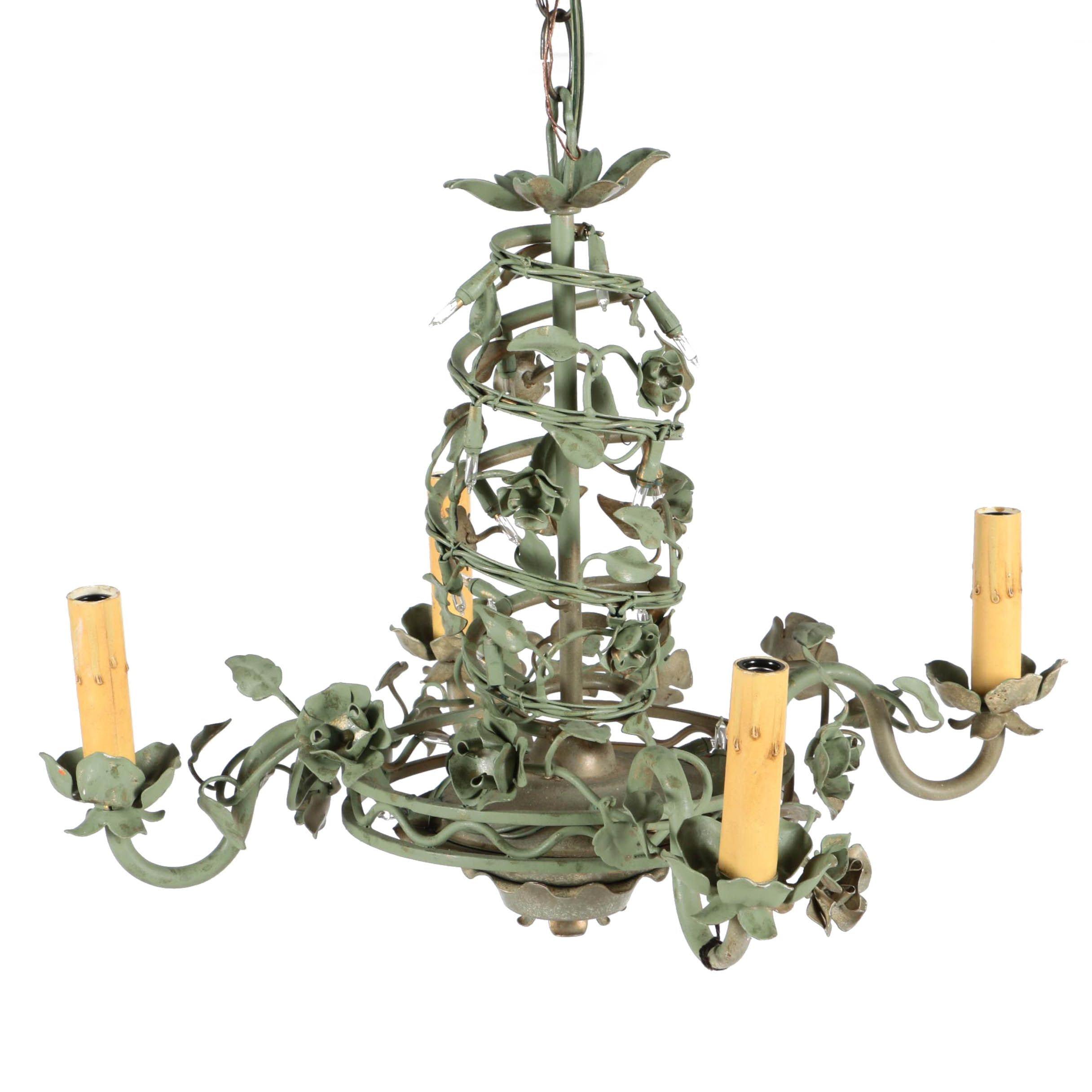 Vintage Italian Verde Tole Chandelier