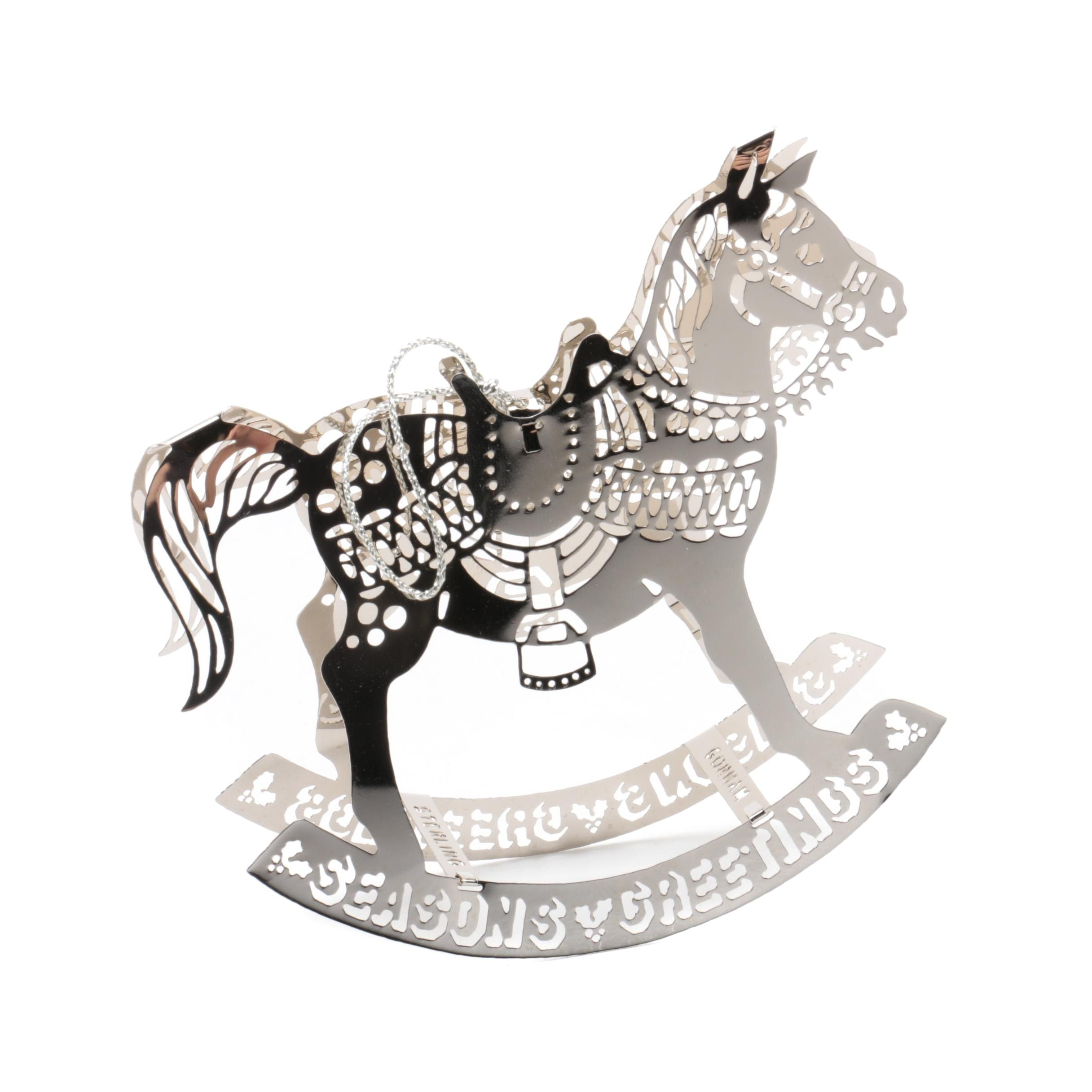 """1979 Gorham """"Pierced Christmas Ornaments"""" Sterling Silver Rocking Horse"""