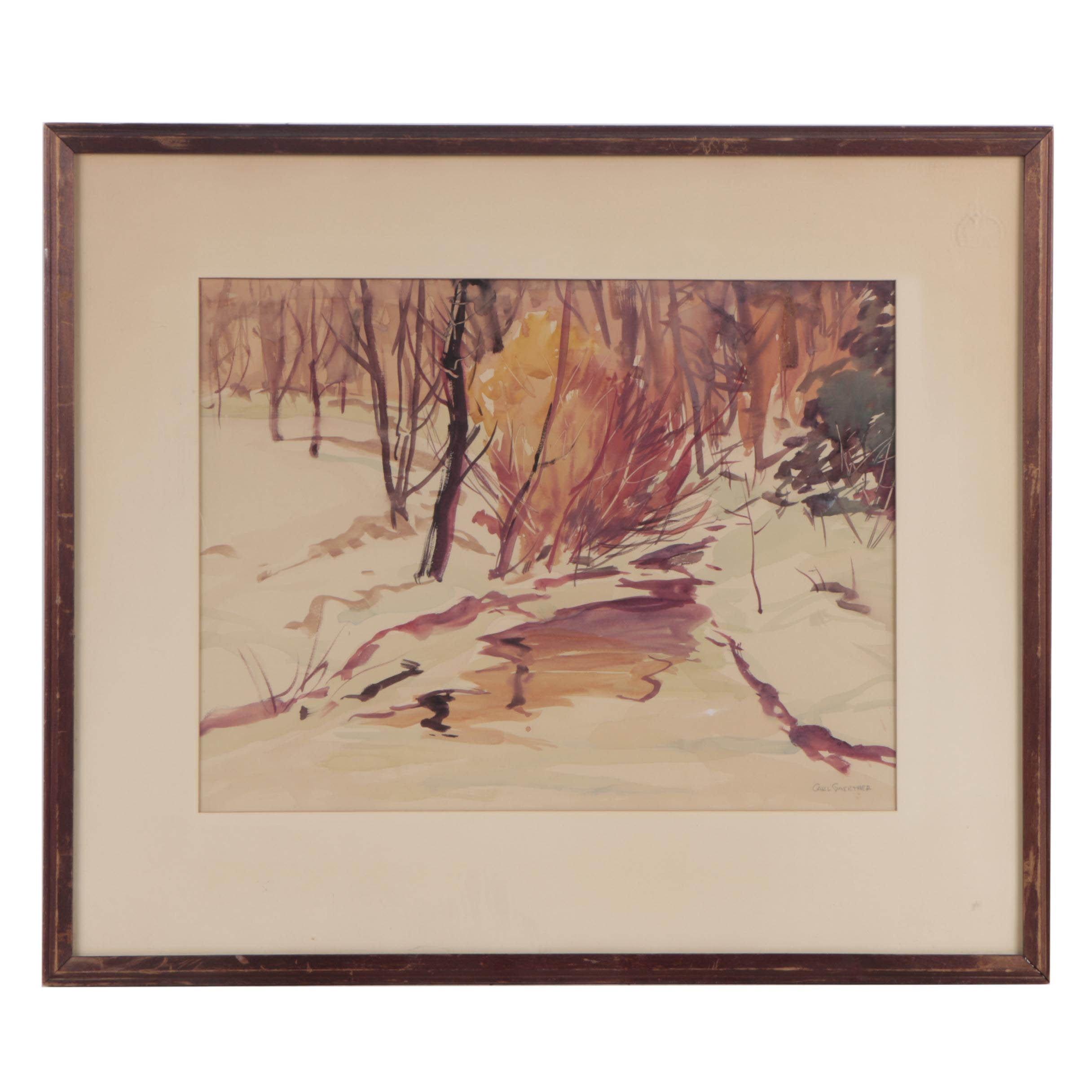 Carl Gaertner Watercolor Painting of Winter Forest Scene