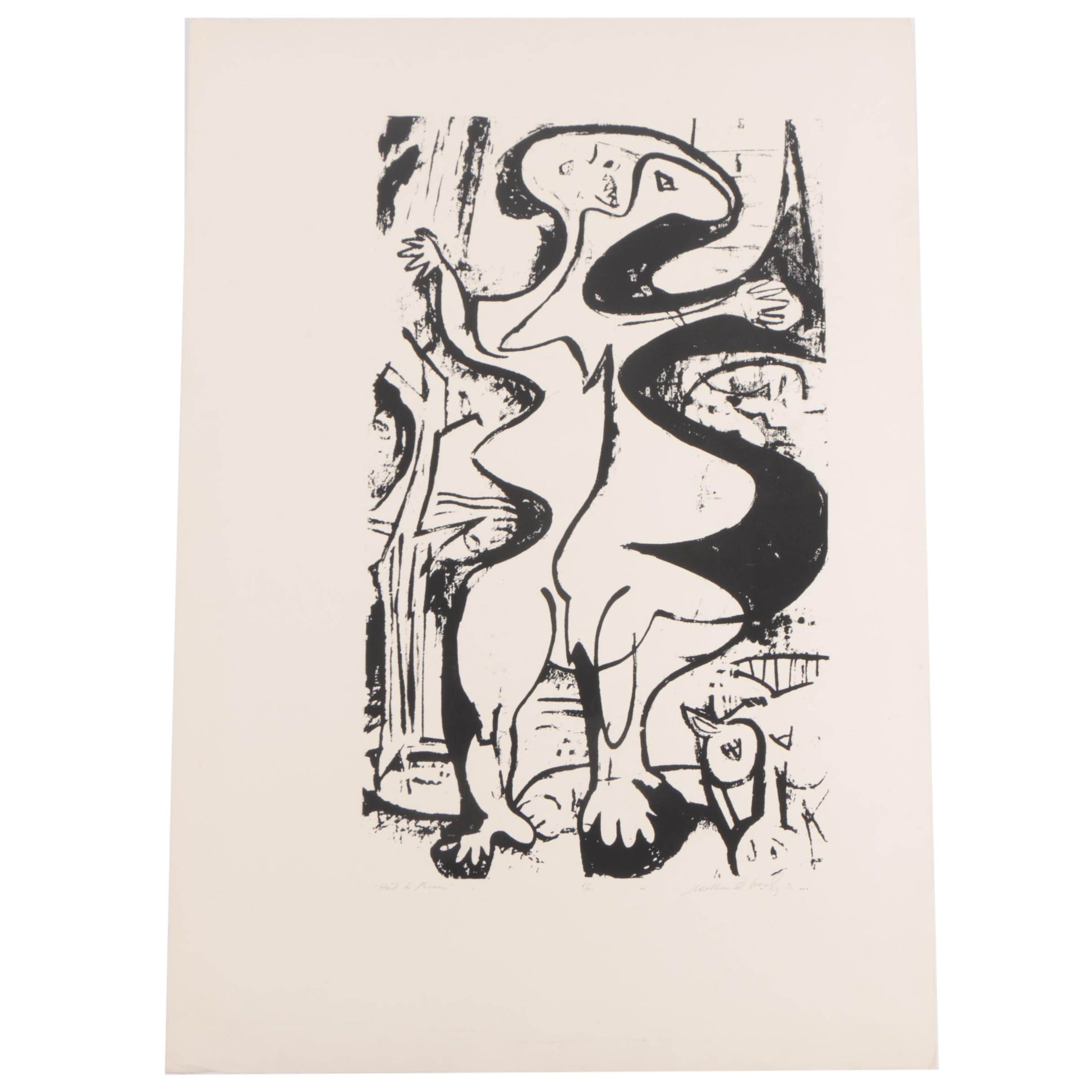 "Abstract Serigraph Print ""Hail to Picasso"""