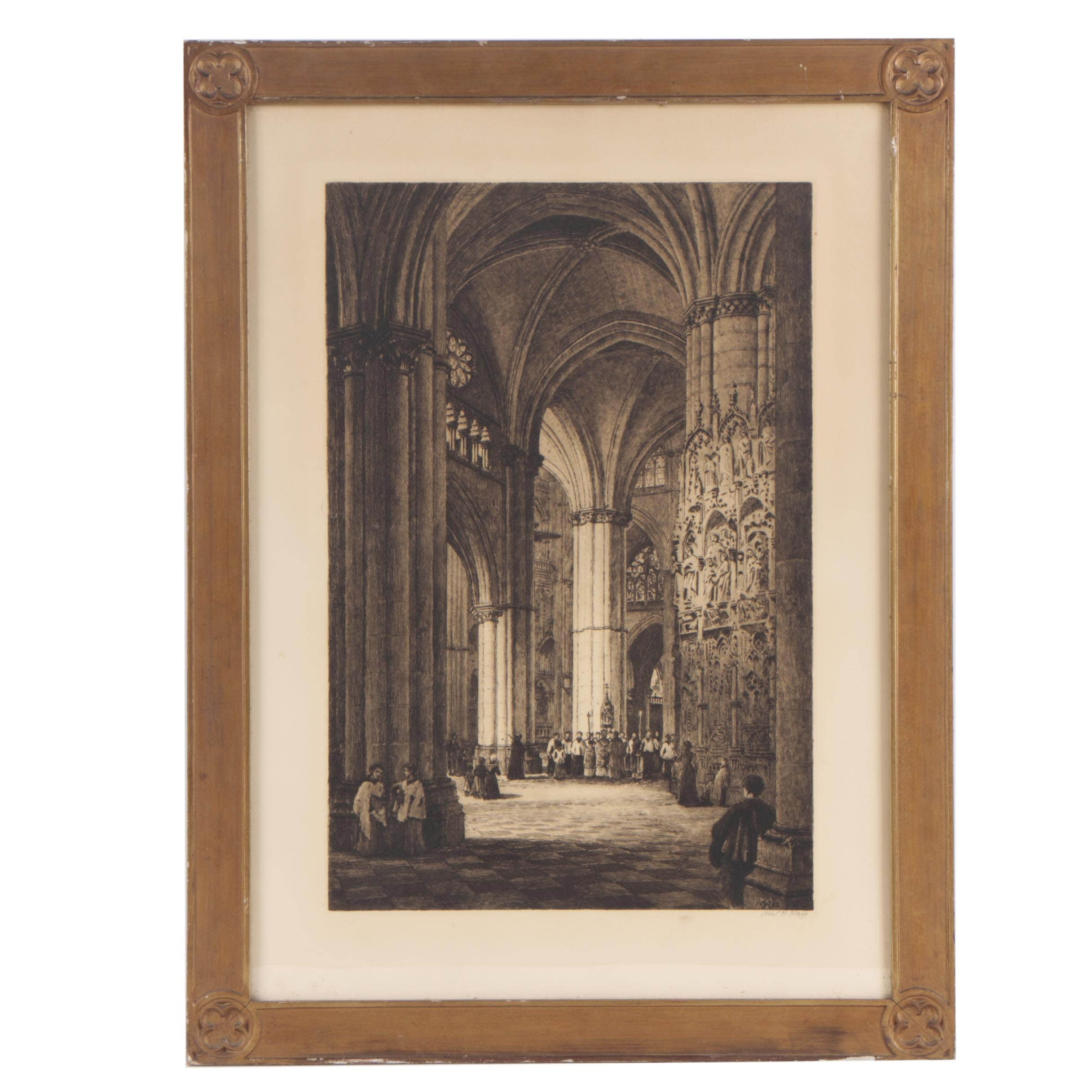 "Axel Haig Etching ""Toledo Cathedral"""