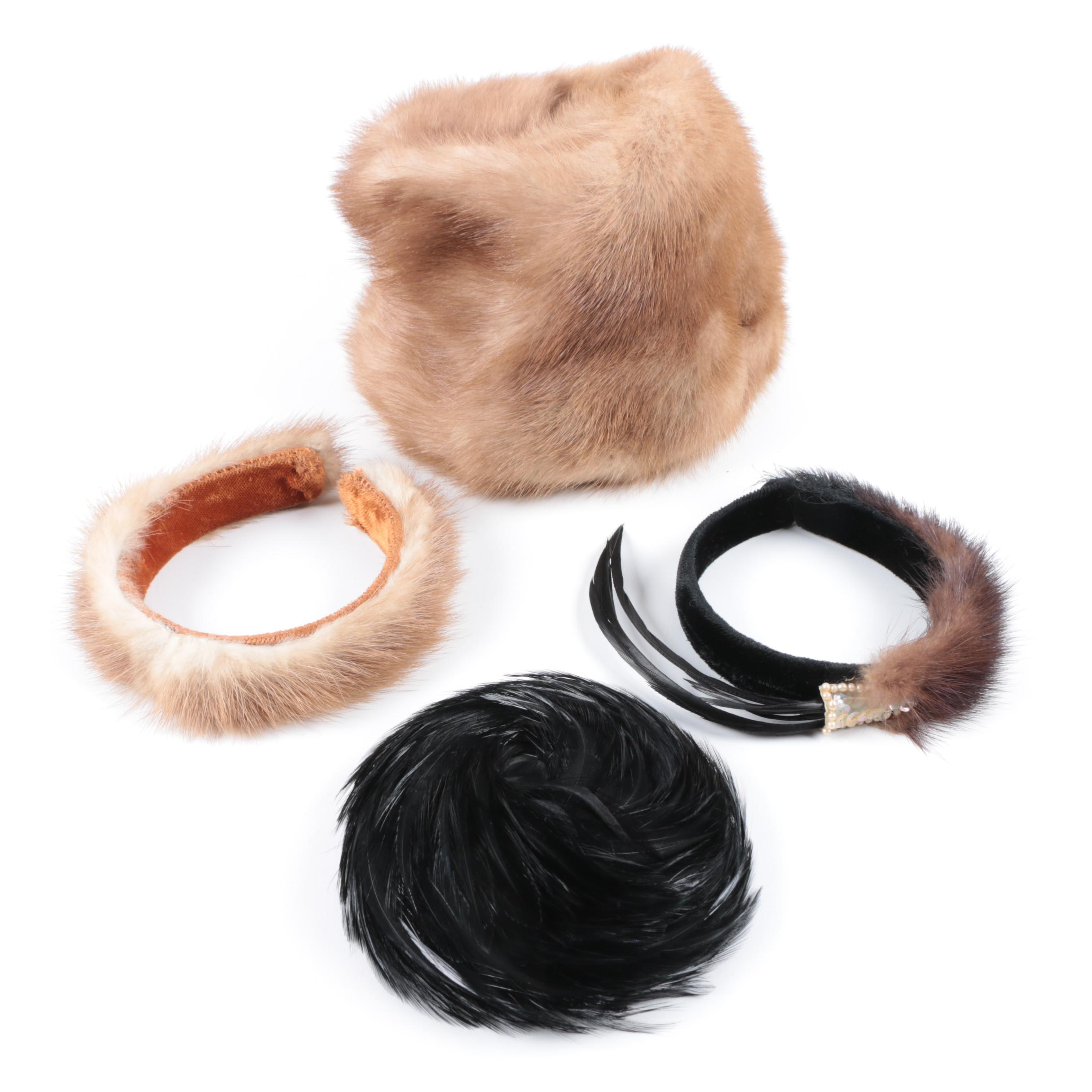 Vintage Mink Fur and Feather Accessories