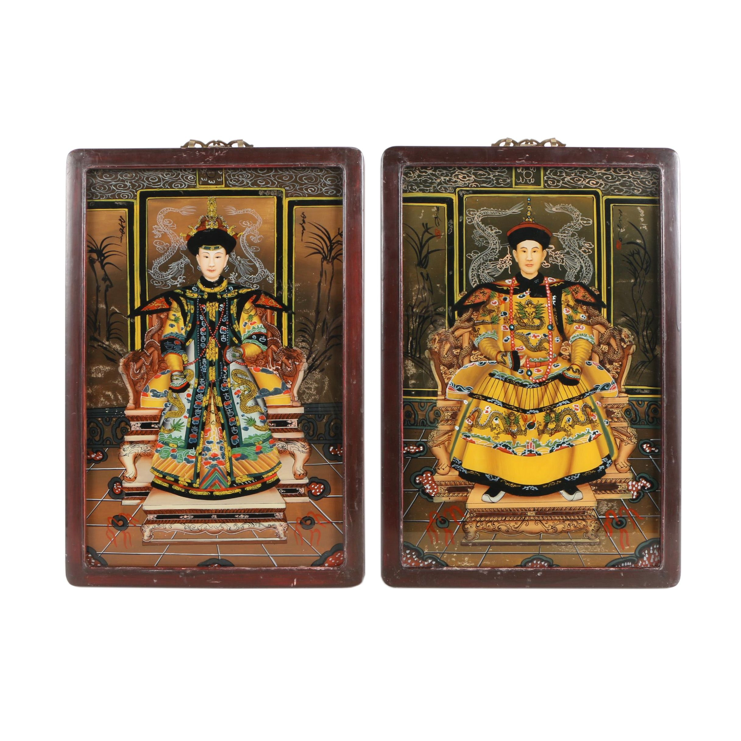 Pair of Chinese Reverse Glass Portraits