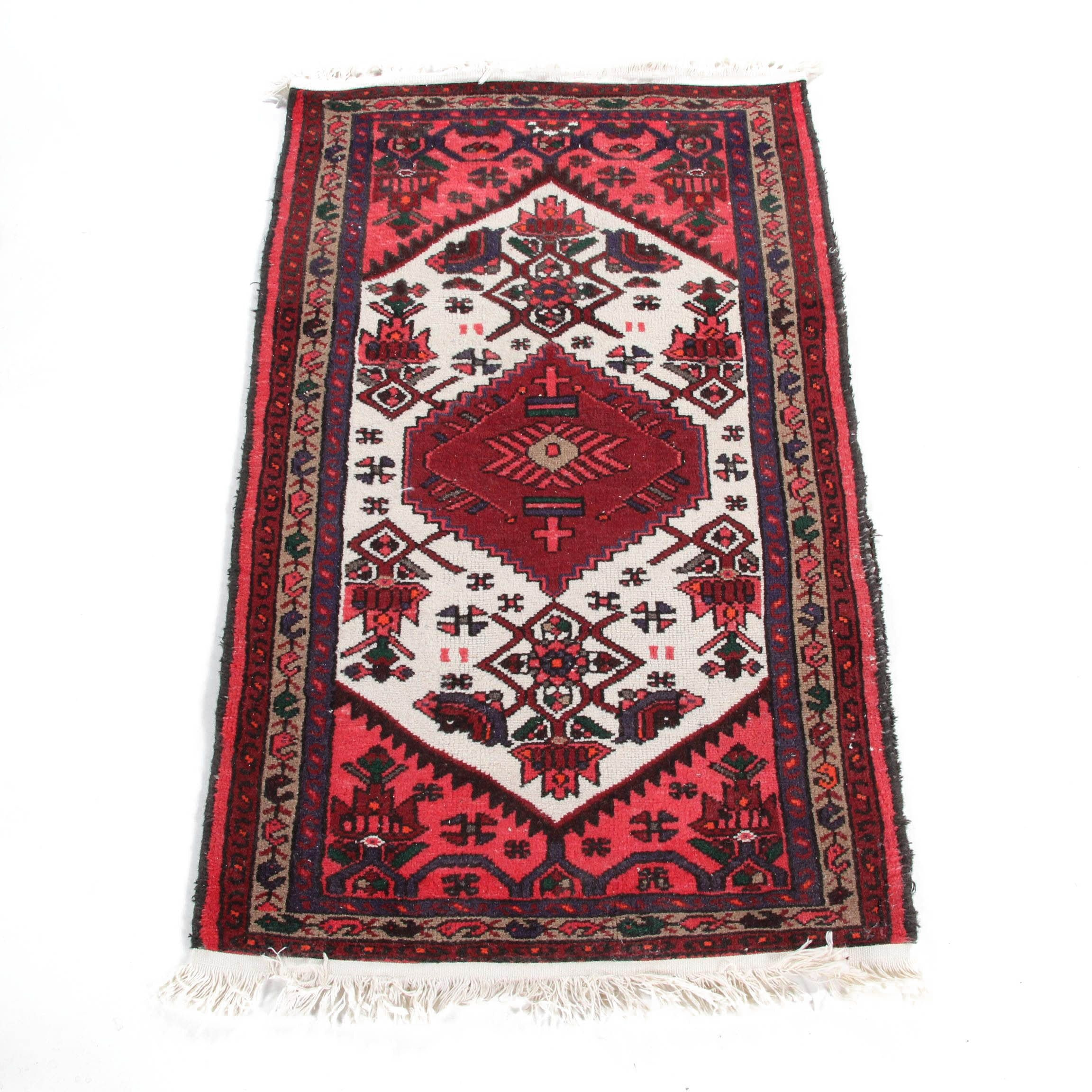 Hand-Knotted Persian Hamadan Accent Rug
