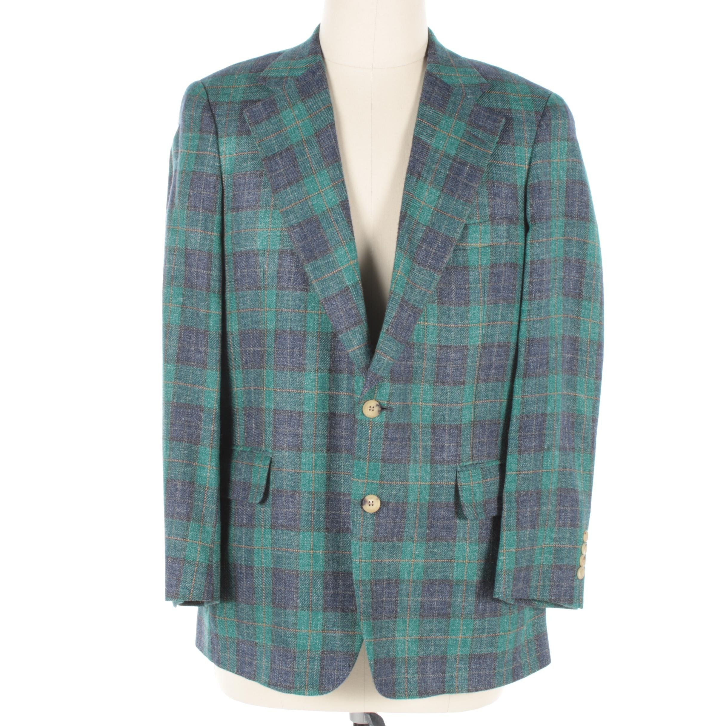 Men's Paul Stuart Plaid Silk, Linen and Wool Blend Sport Coat