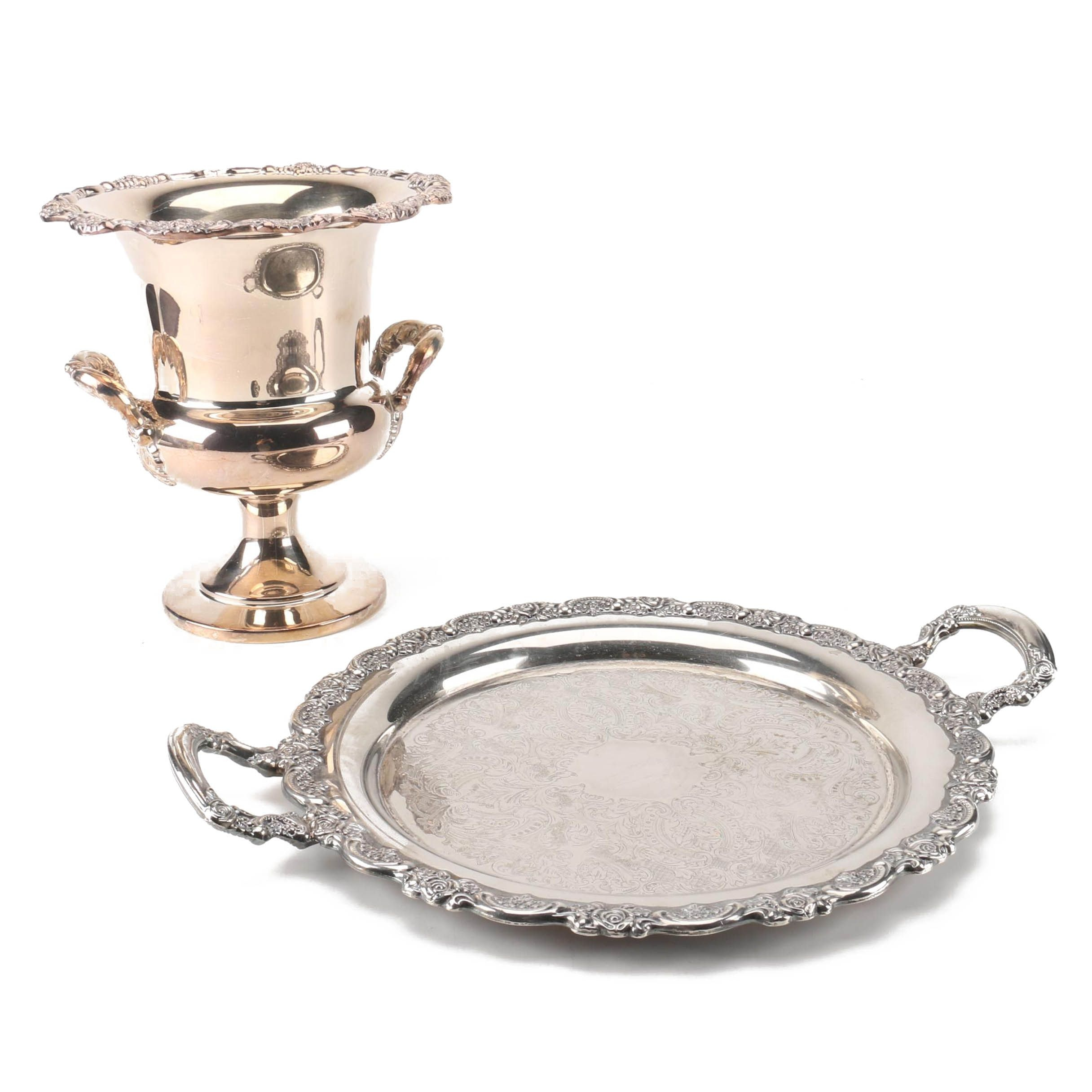Oneida Silver Plate Handled Serving Tray and Champagne Chiller