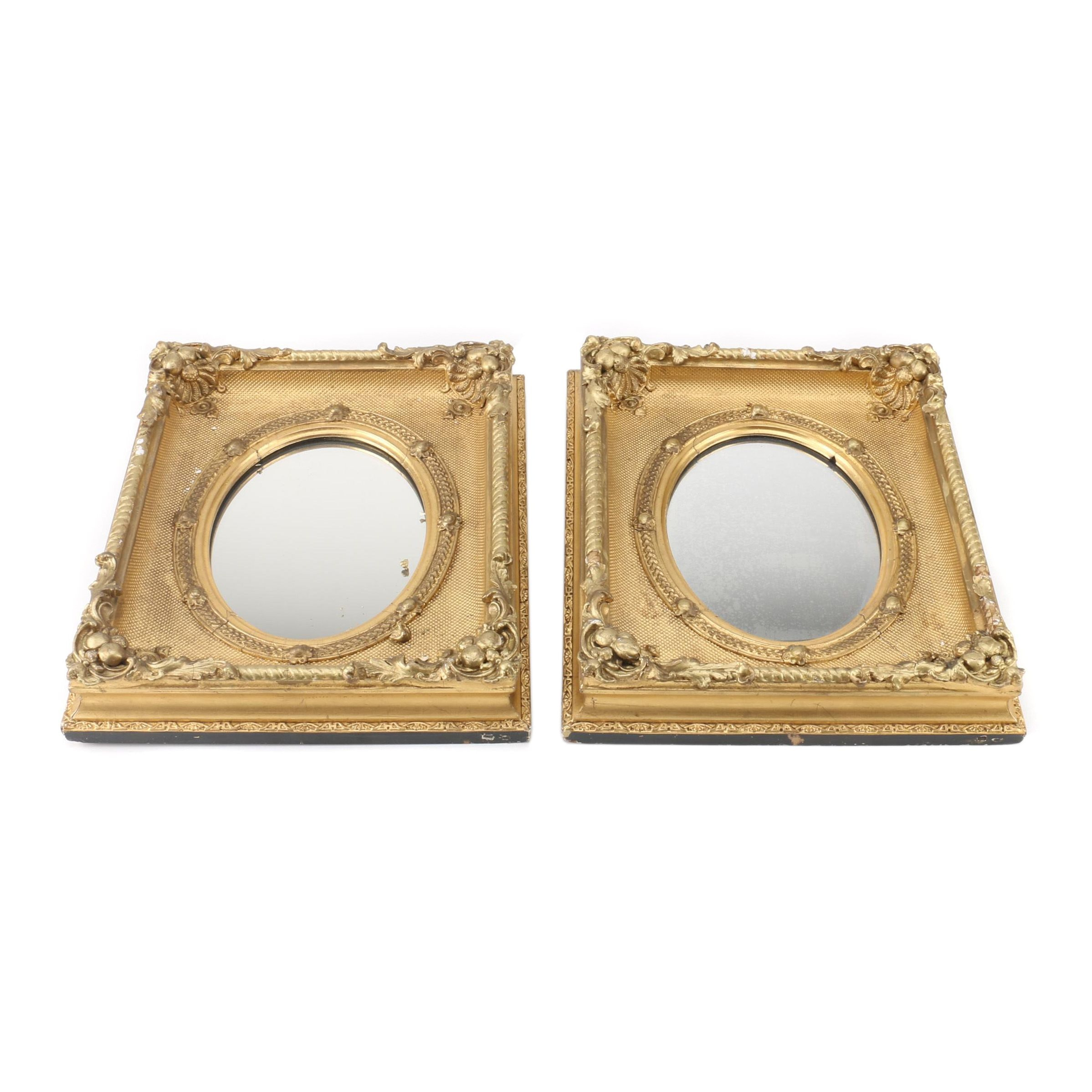 Antique Gold Tone Wall Mirrors, Mid to Late 19th Century