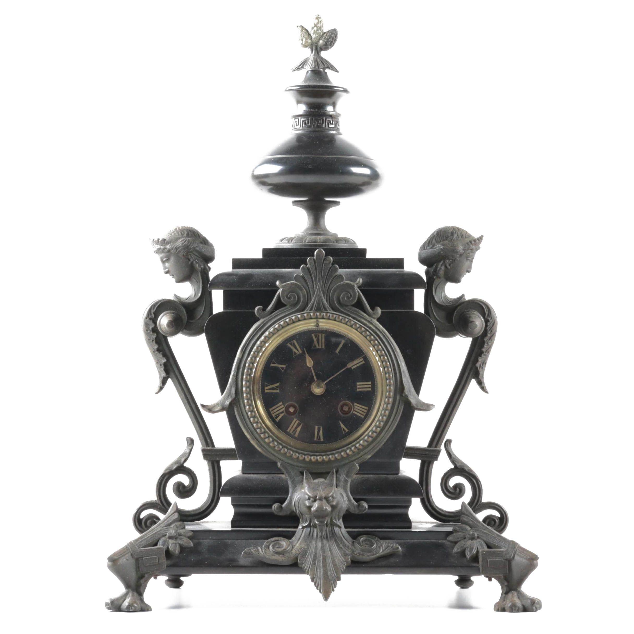 Neoclassical Style Metal Mantel Clock