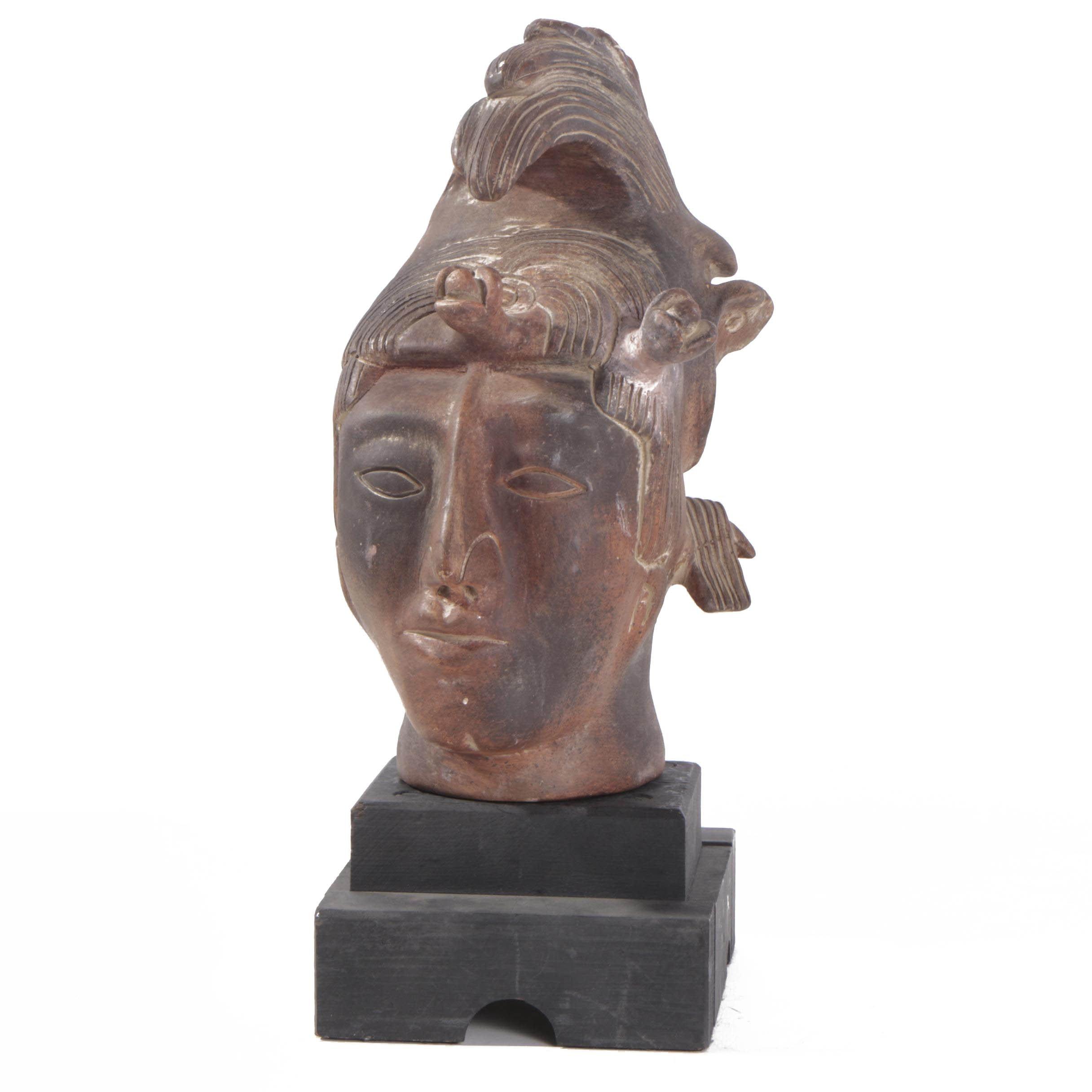 Mesoamerican Inspired Ceramic Head of K'inich Janaab' Pakal