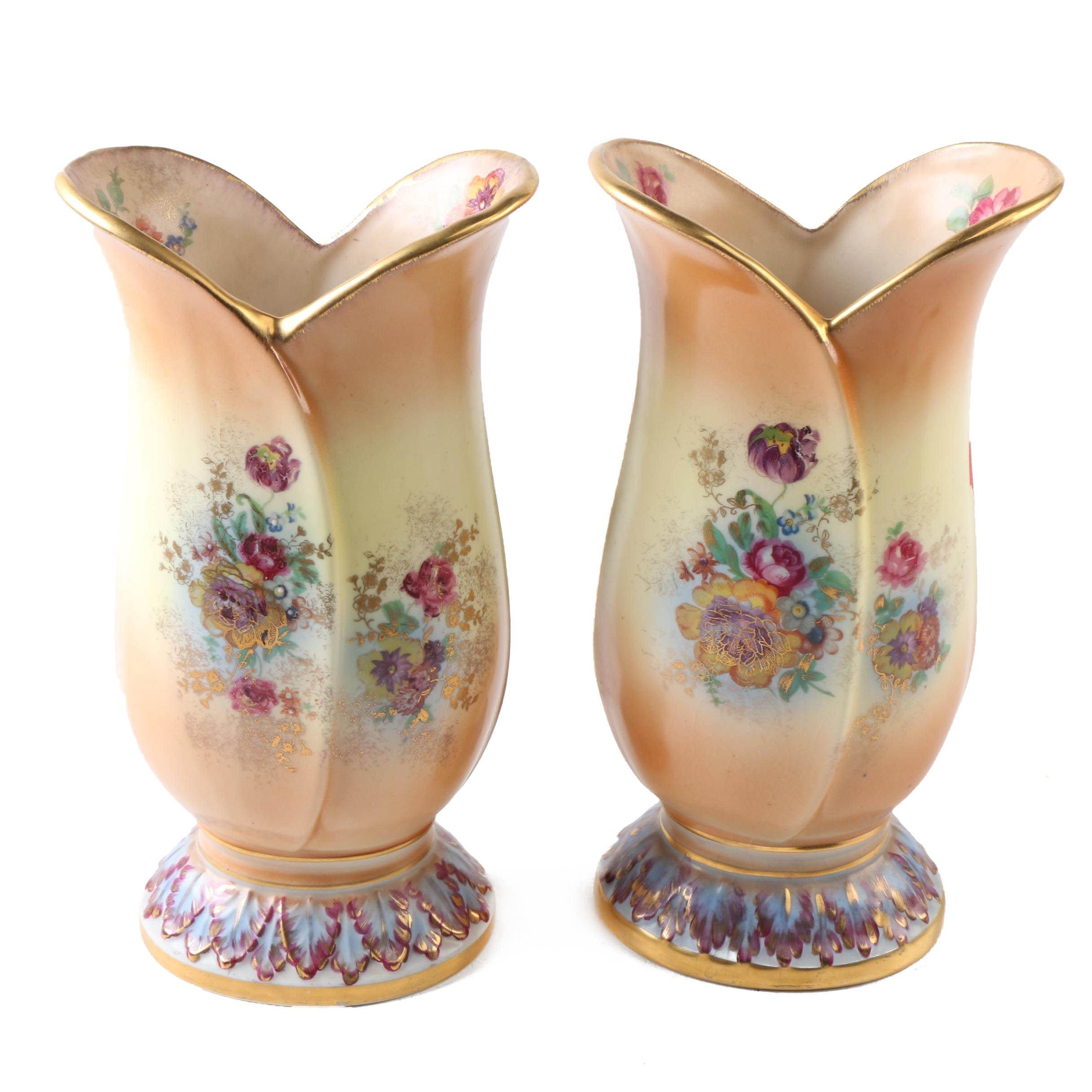 Tulip Shaped Floral Motif Ceramic Vases
