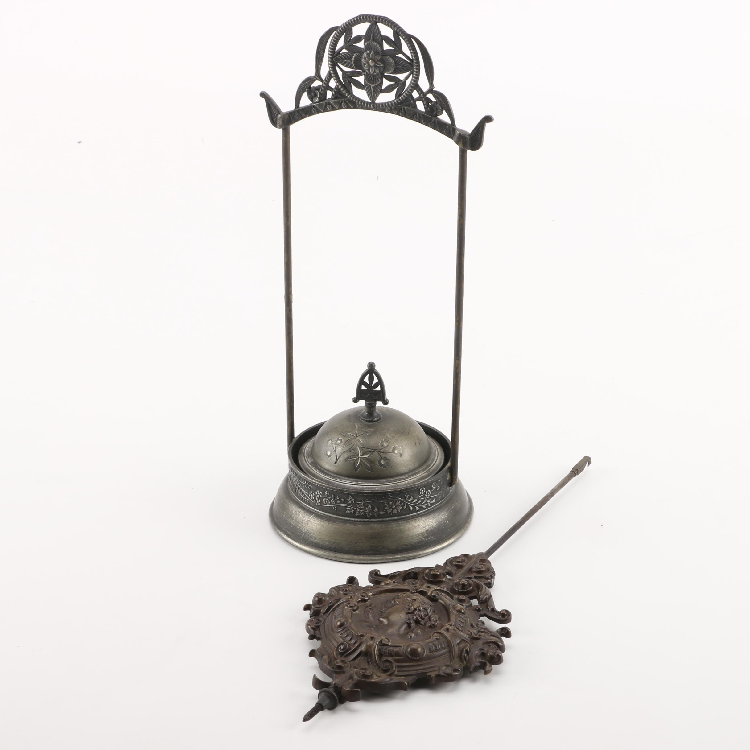 Vintage Silver-Plated Butter Warmer with Clock Pendulum