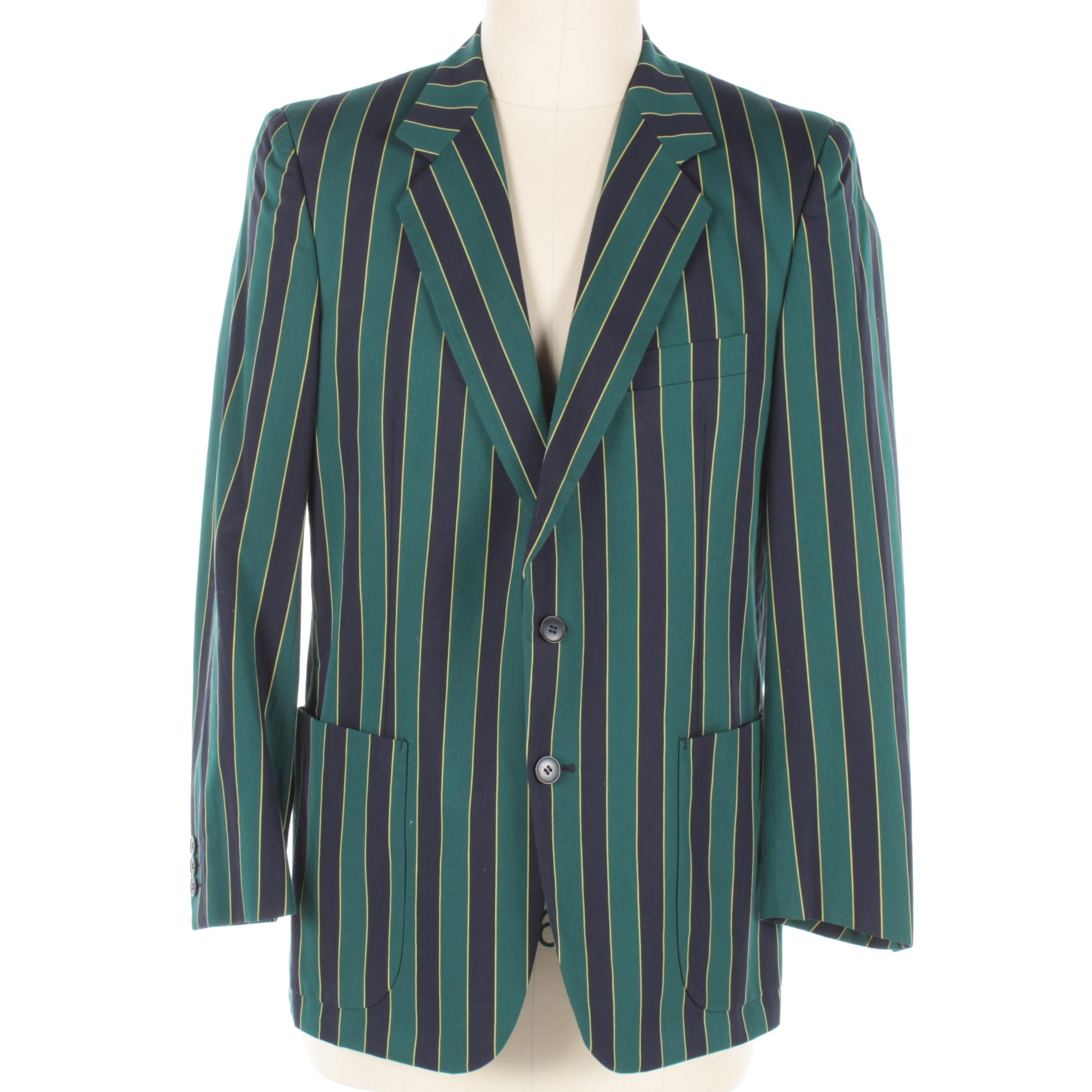 Men's Vintage Harrods Striped Cotton Blazer