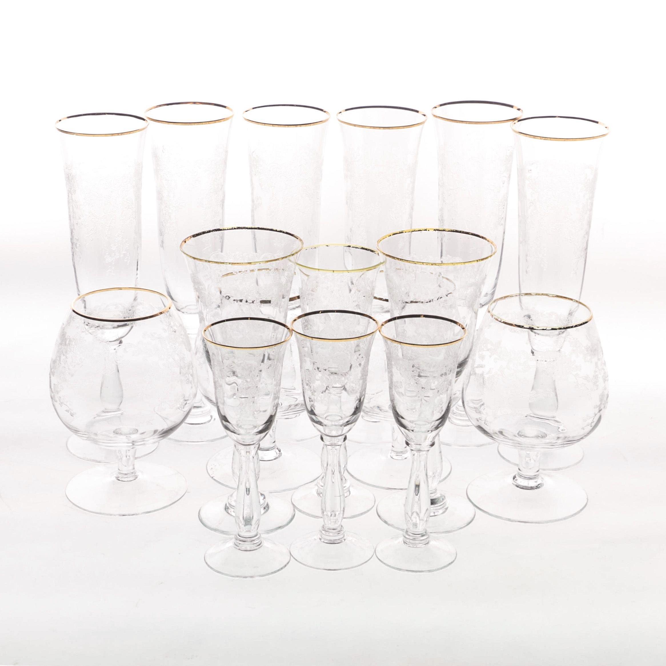 Gilt Rim Etched Glass Stemware