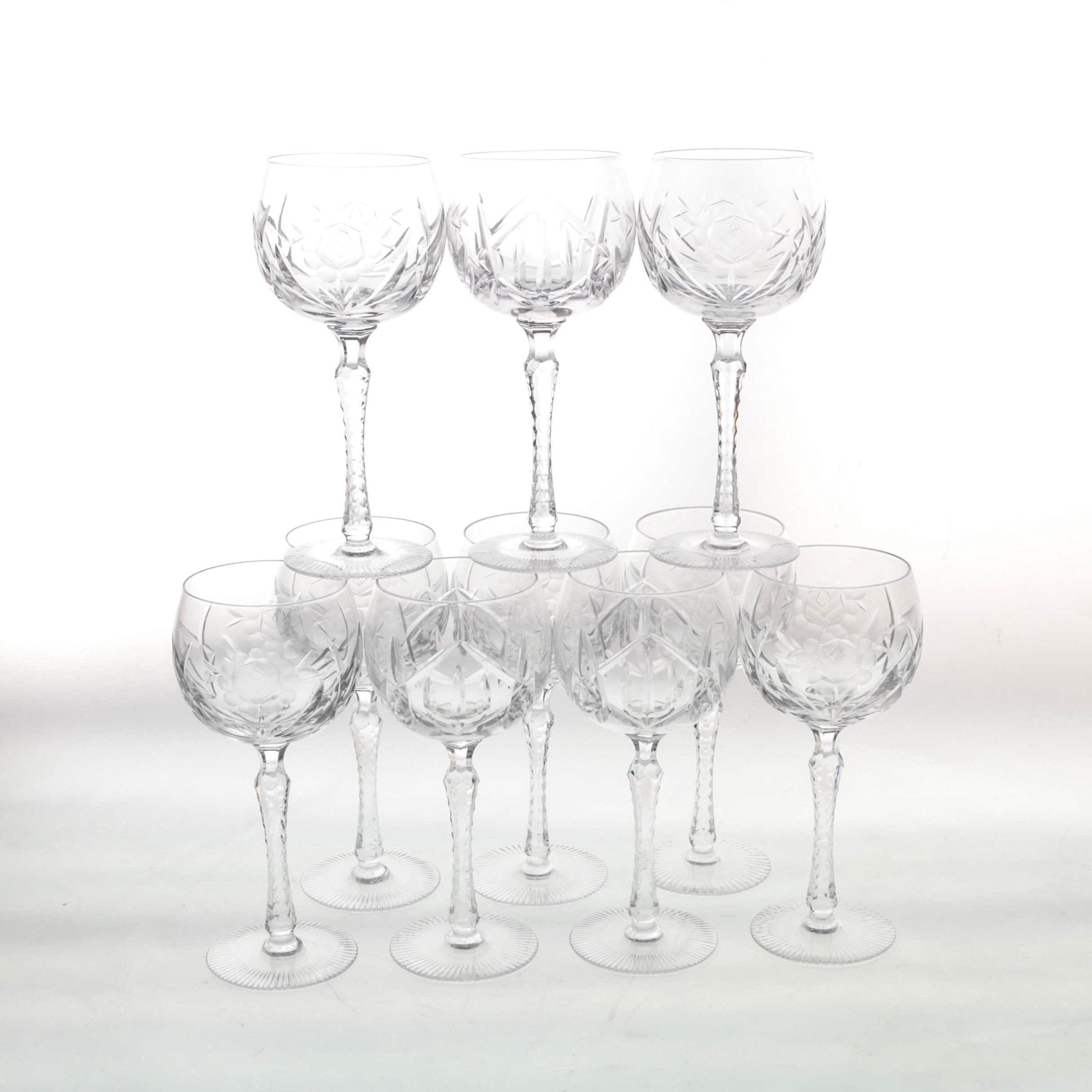 Hand-Cut Crystal Hock Wine Glasses