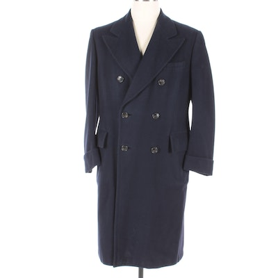 Men's Vintage Bonwit Teller Navy Blue Wool Double-Breasted Overcoat