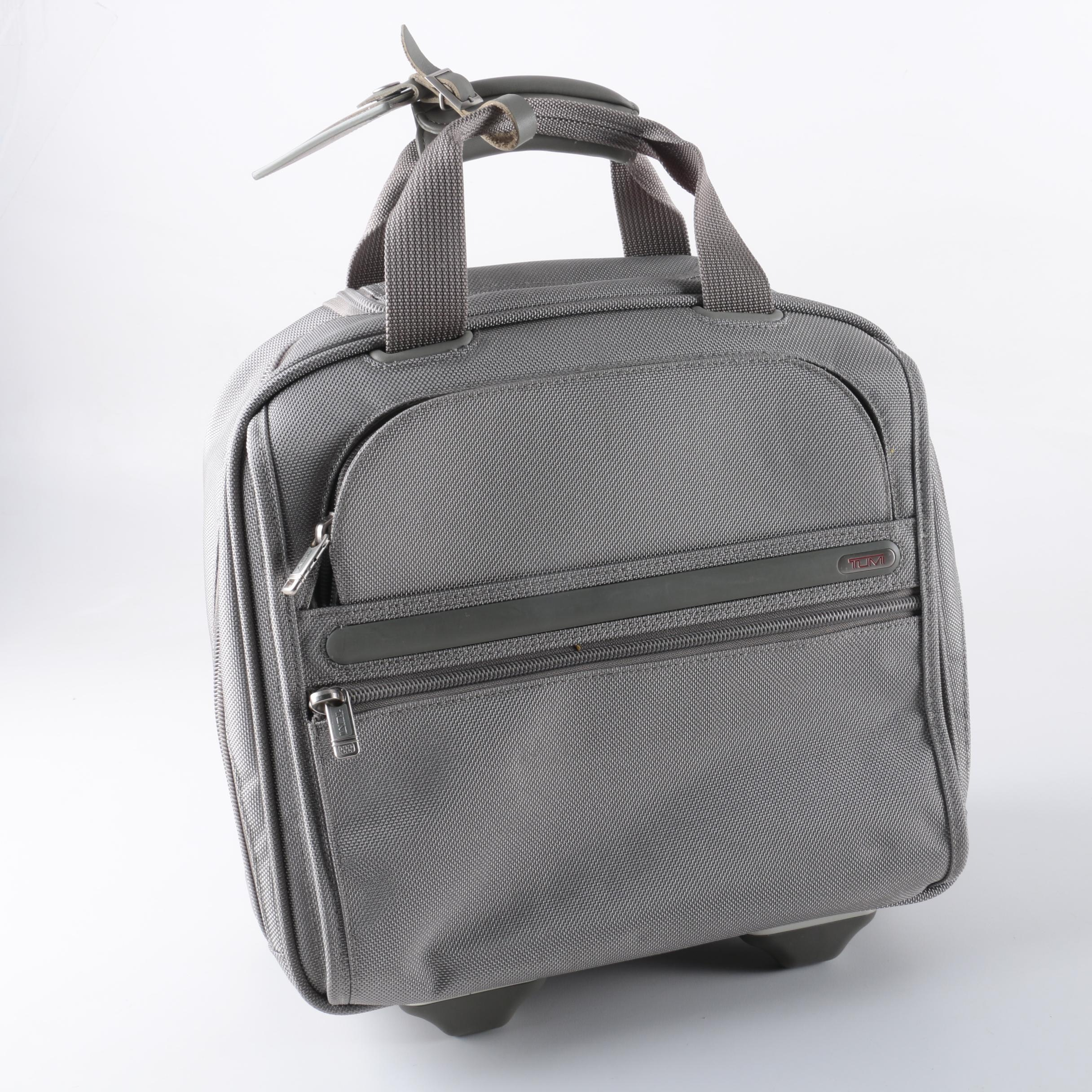 Tumi Grey Woven Nylon Rolling Carry-On Luggage Bag