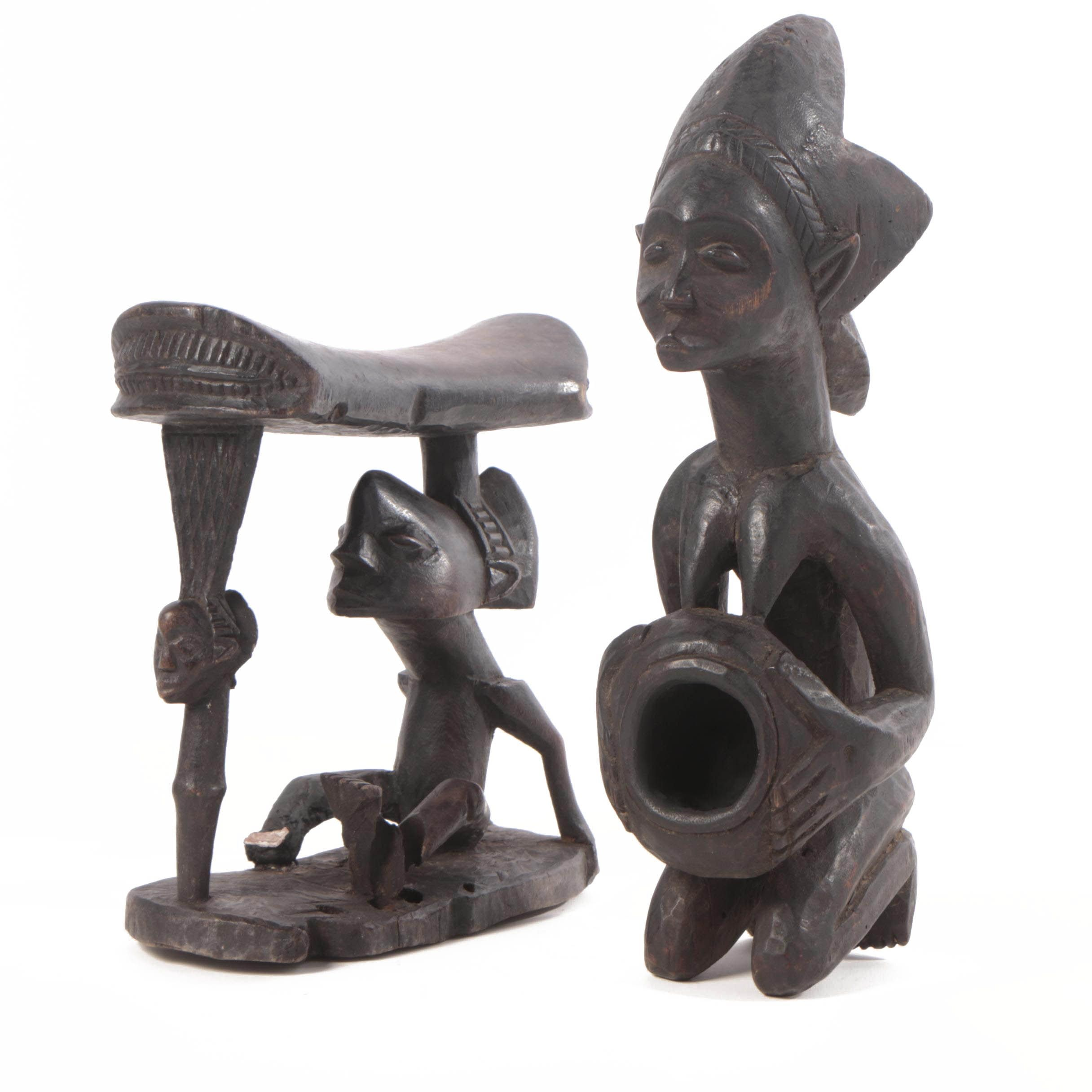 Carved Luba Bowl Bearer and Headrest