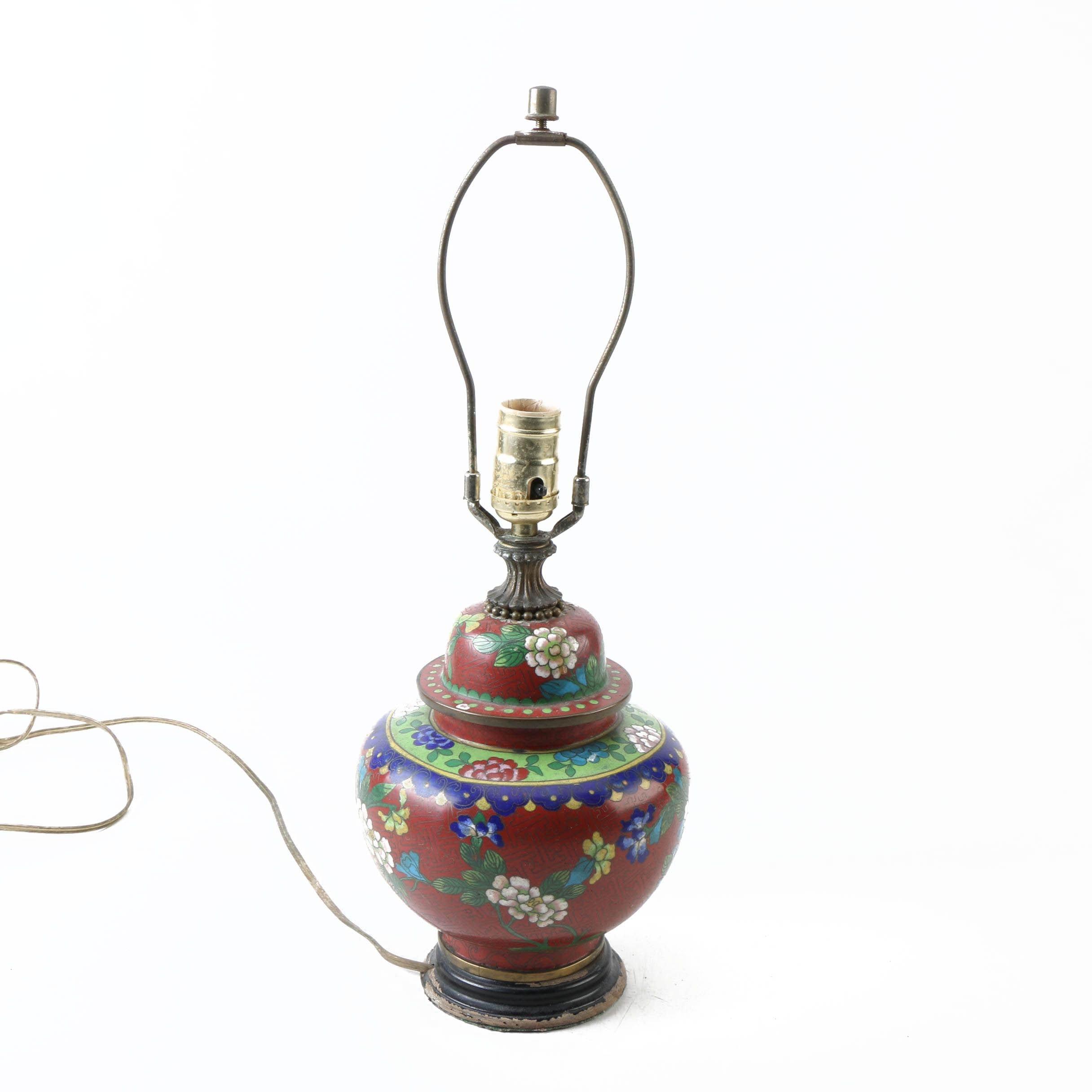 Vintage Chinese Cloisonné Accent Lamp