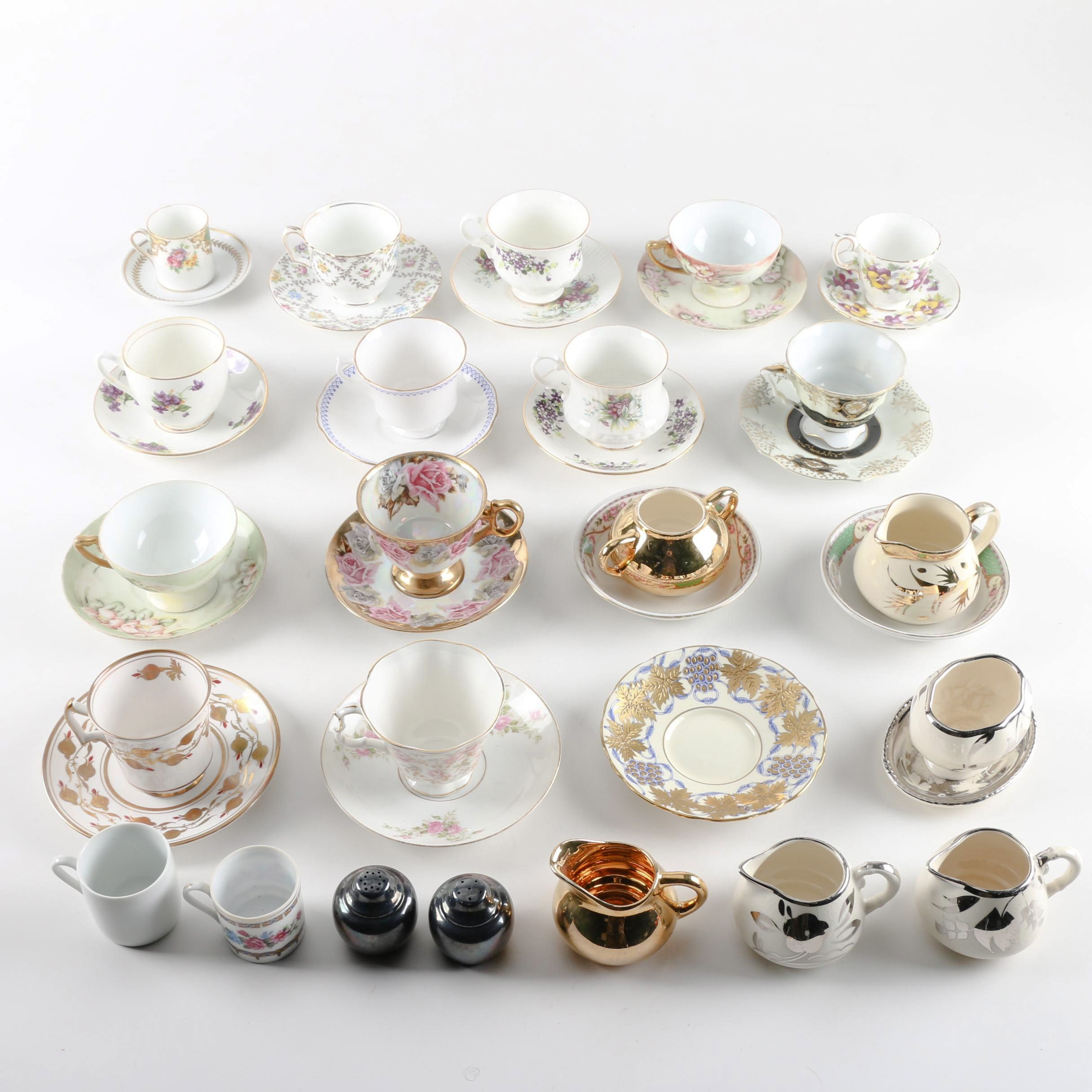 """Porcelain Tableware including Rosenthal """"Empire"""" Teacups and Saucers"""