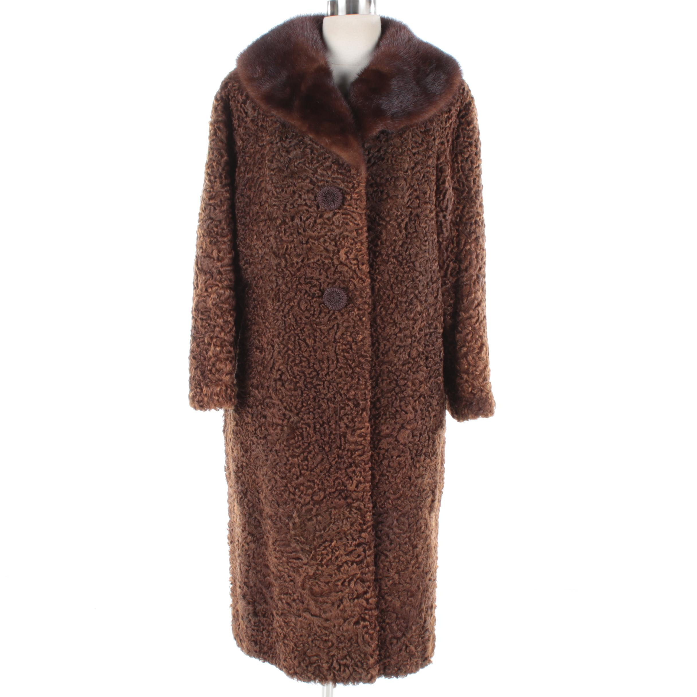 Vintage Persian Lamb Coat with Mink Fur Collar