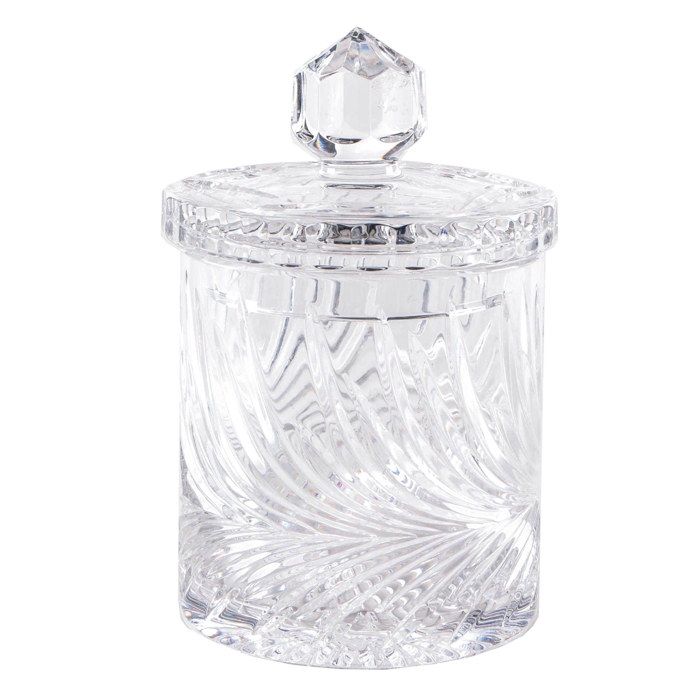 Pressed Foliate Motif Crystal Jar