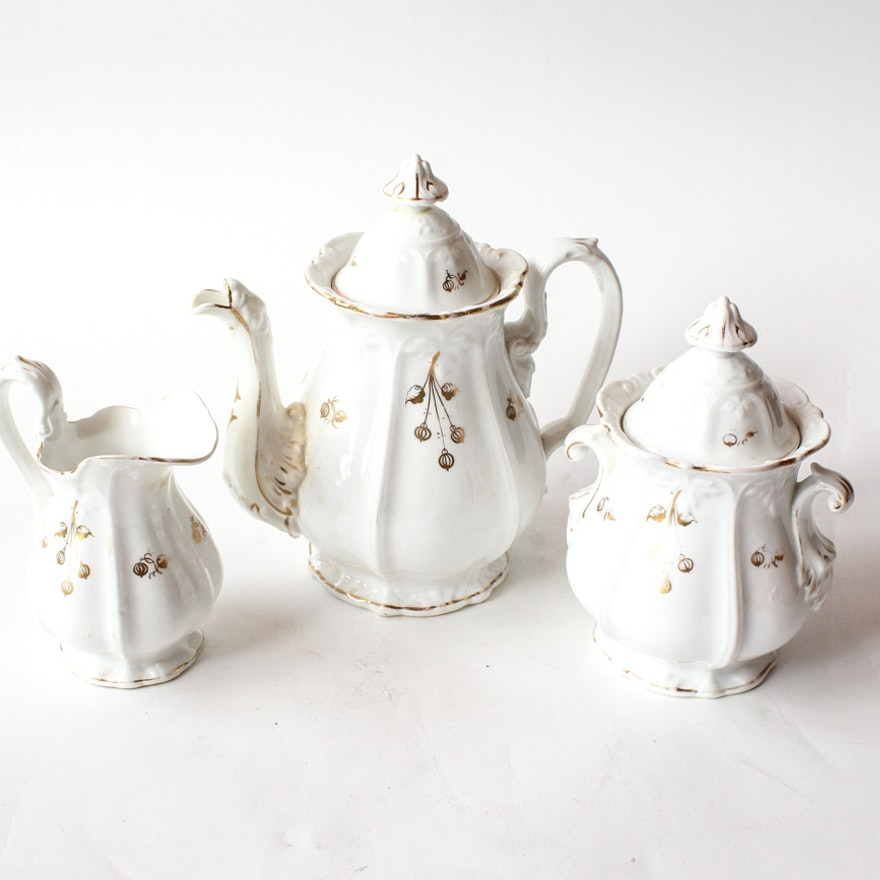Late 1800s French White And Gold Porcelain Tea Set