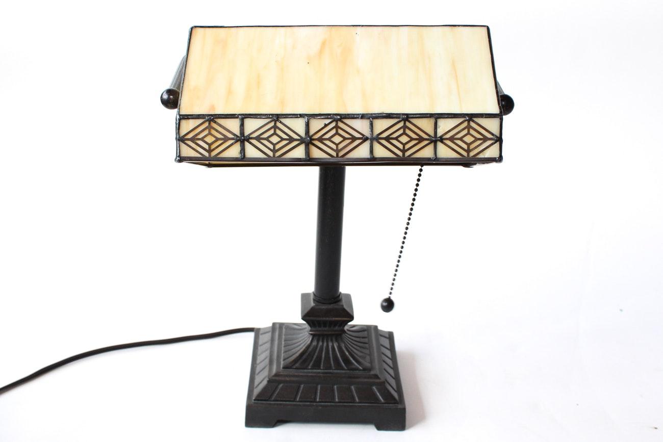 Slag Glass Bankers Lamp