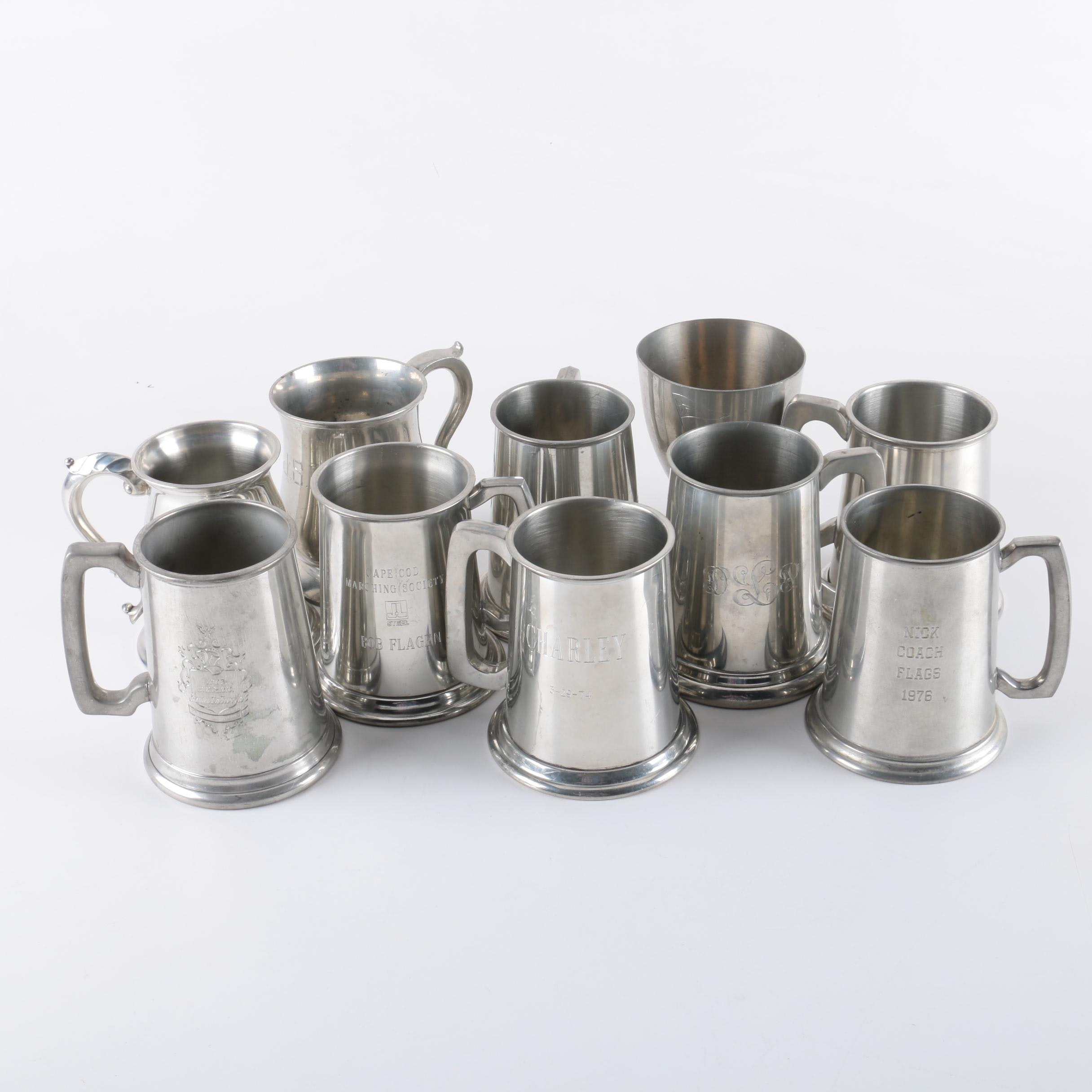Monogrammed Pewter Steins, Including Trophies