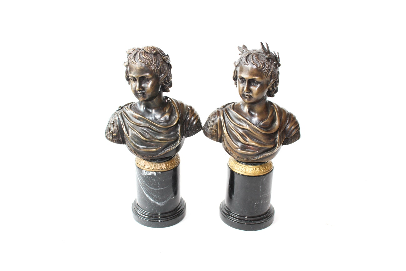 Pair of Cast Bronze Bust Sculptures  with Stone