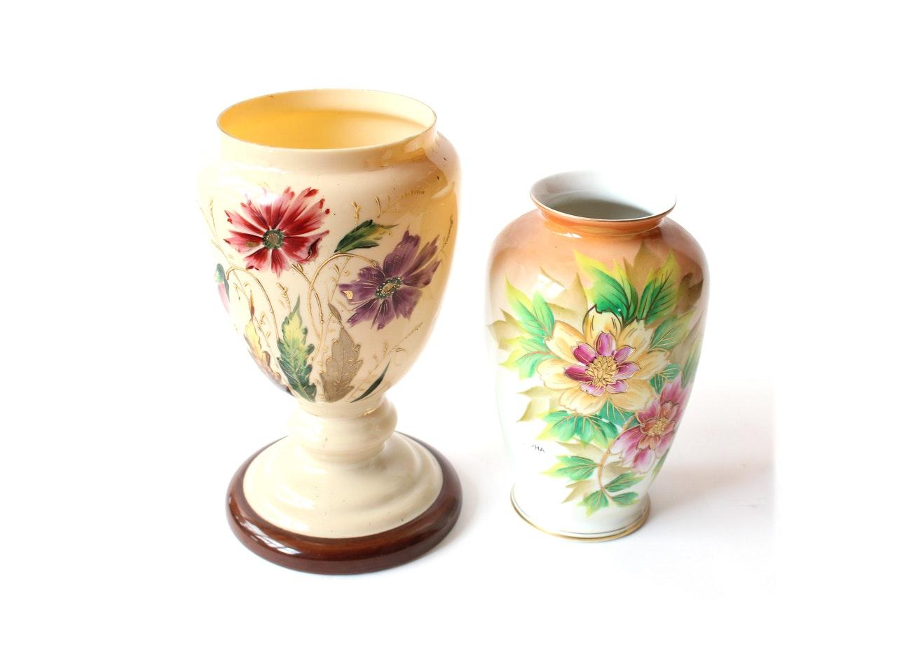 Antique Bristol Glass and Vintage Floral Vases