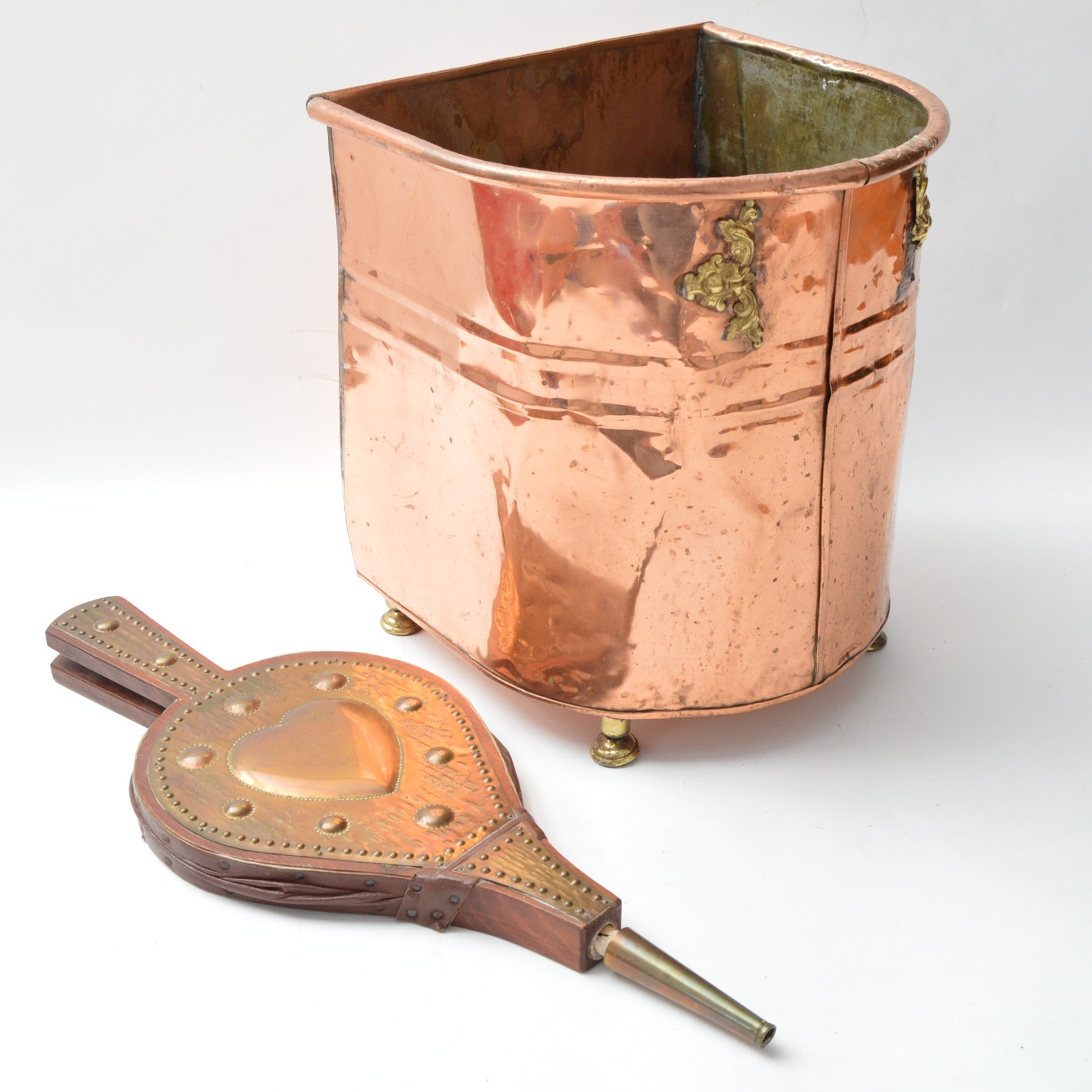 Vintage Copper Container and Wood Brass Fireplace Bellows
