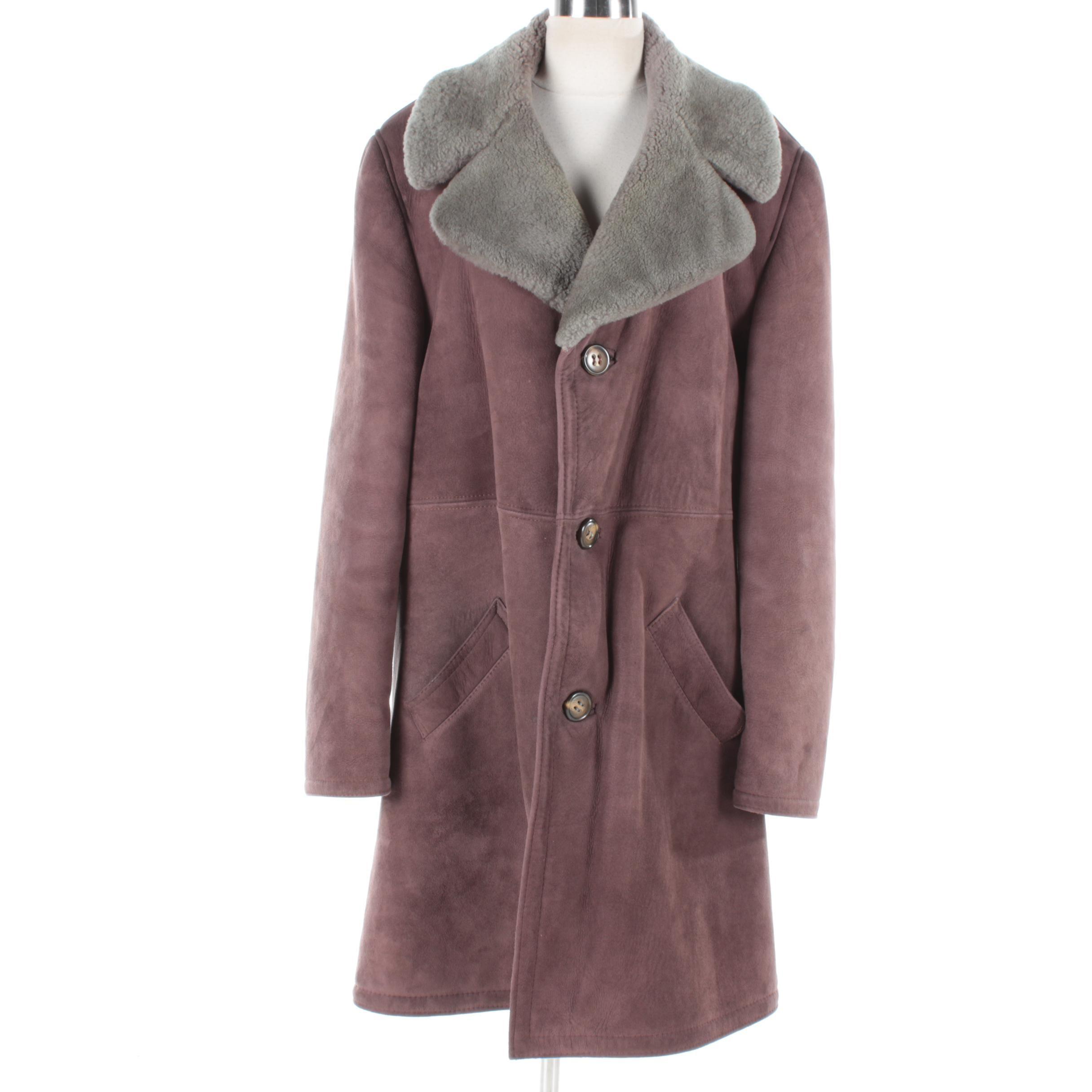Men's Vintage Purple Suede Coat with Faux Fur Lining