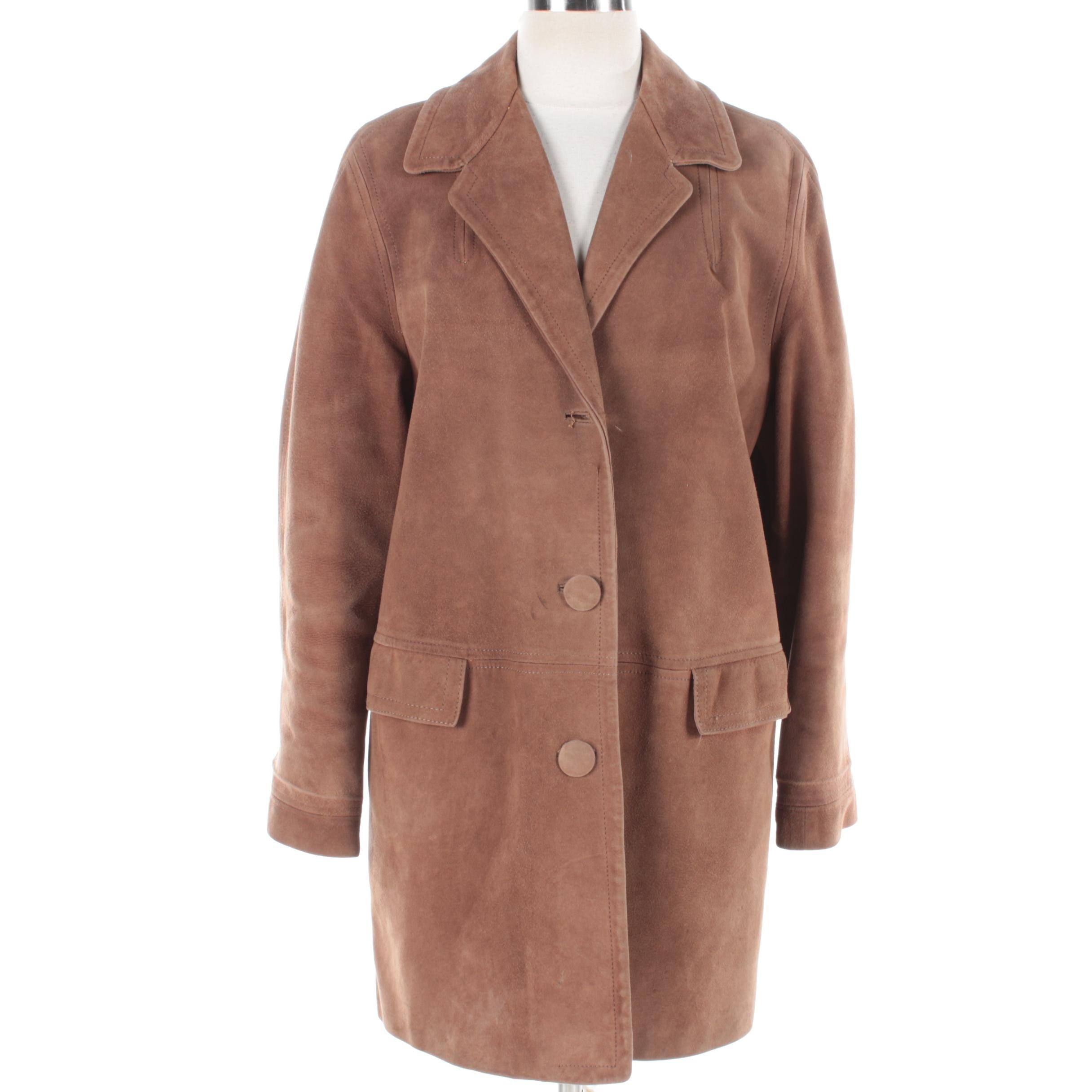 Women's Vintage Brown Suede Coat