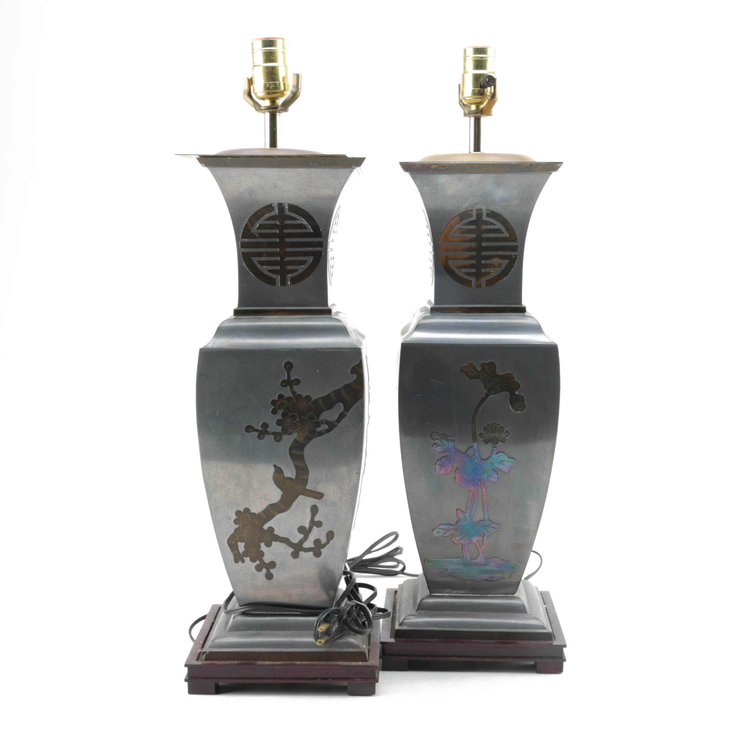 Pair of Chinese Pewter And Brass Table Lamps