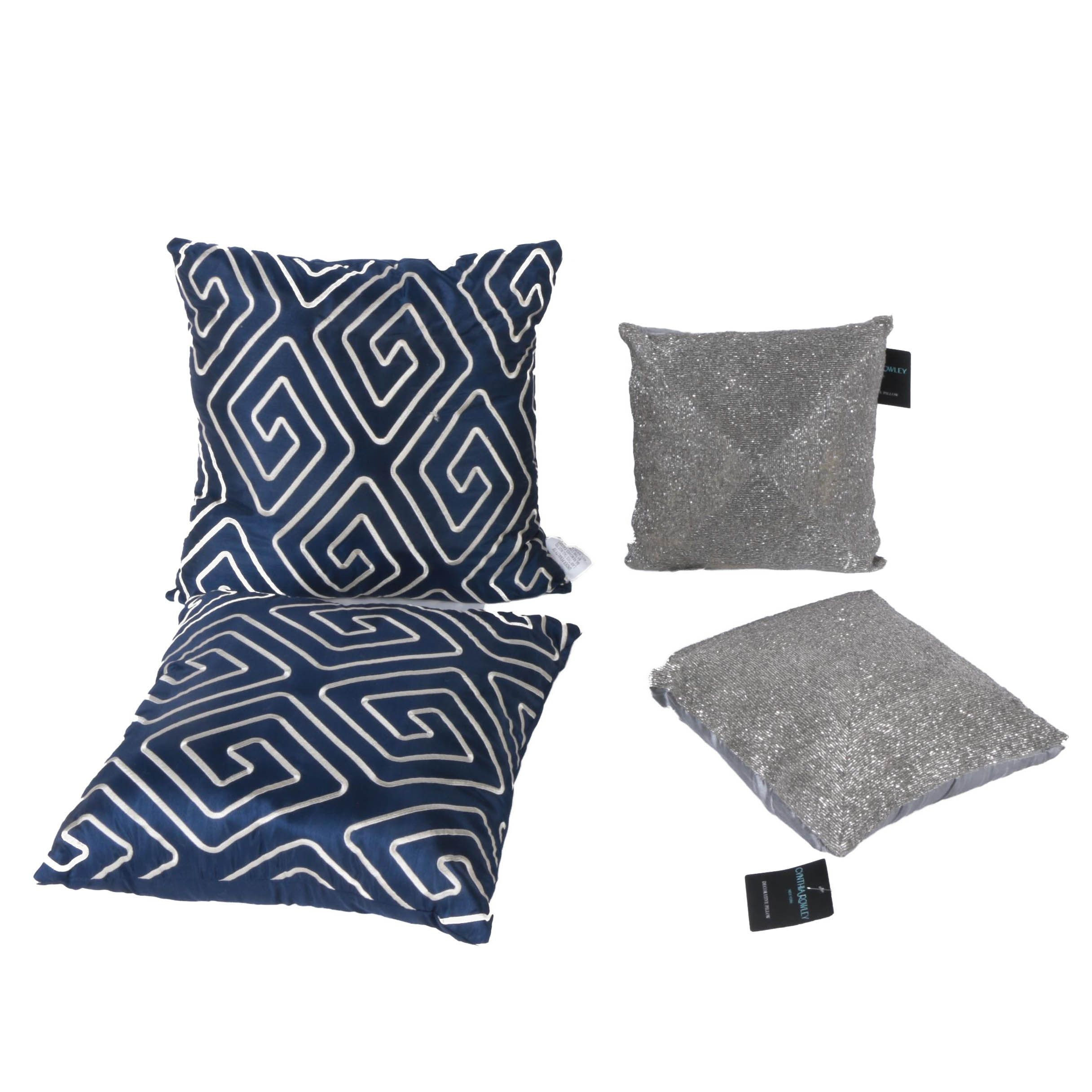 Collection of Four Decorative Throw Pillows Including Cynthia Rowley