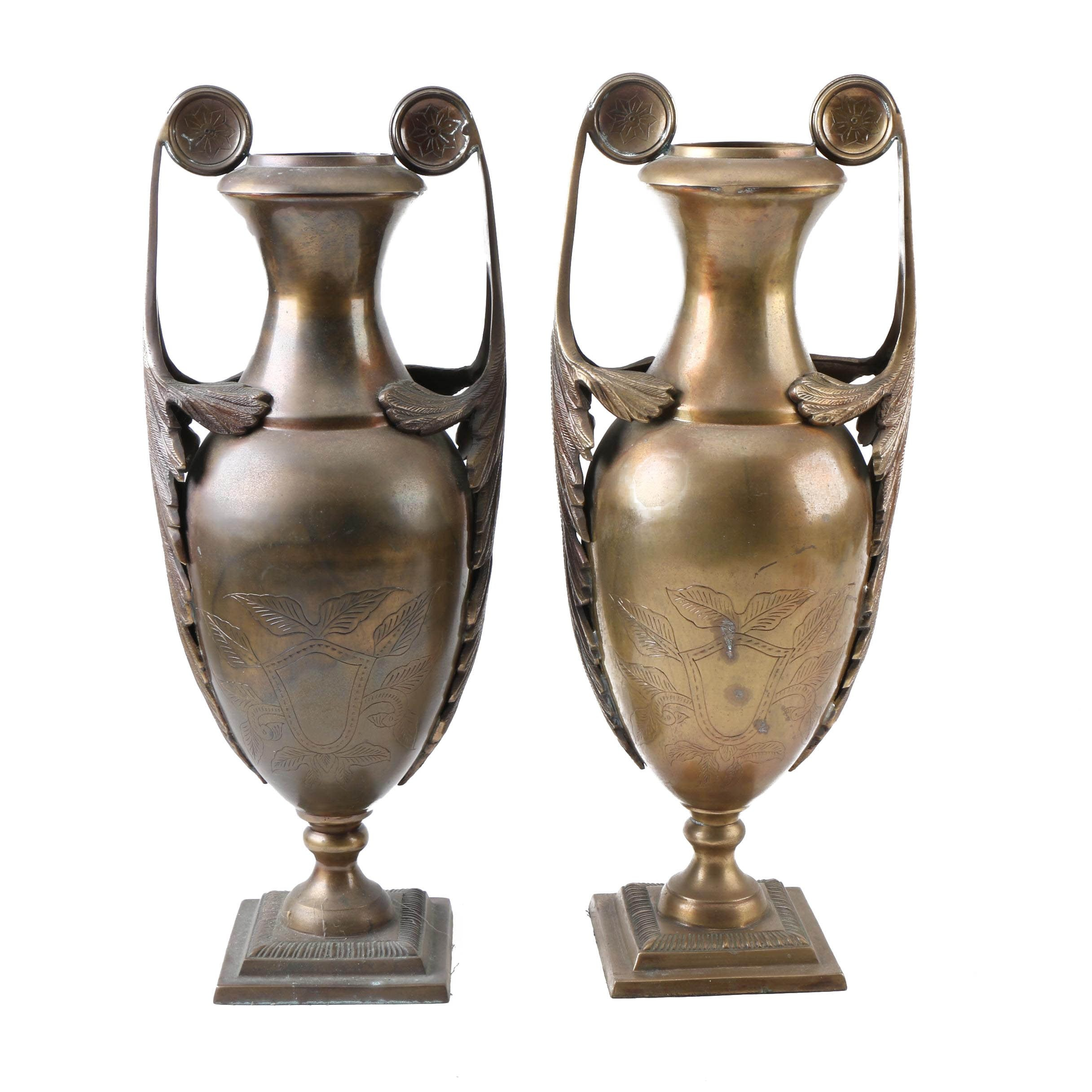 Pair of Metal Urns
